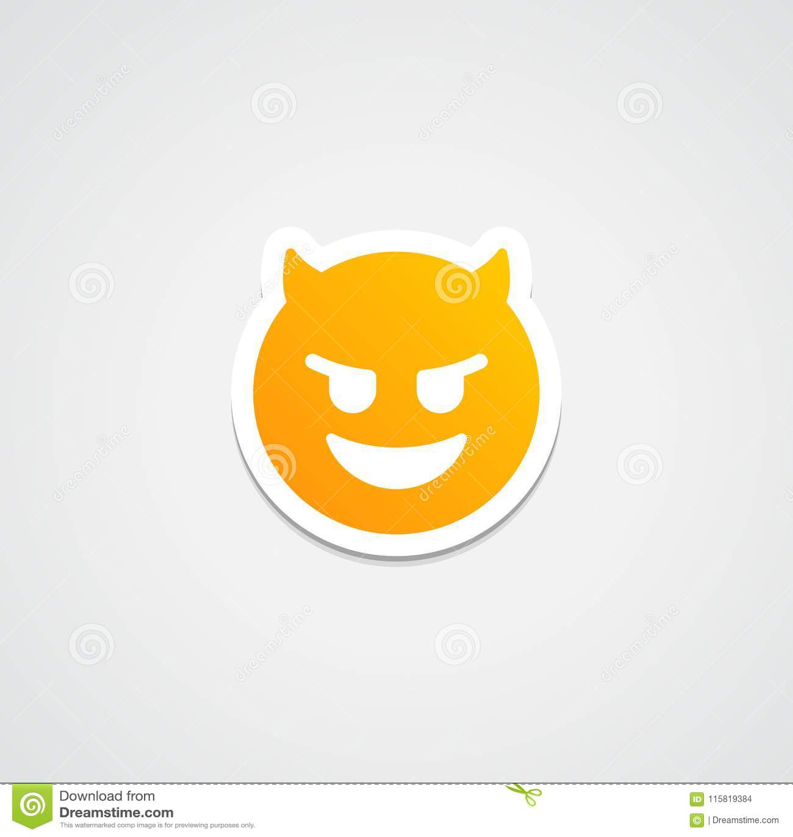 Emoji Evil laugh Sticker stock illustration  Illustration of