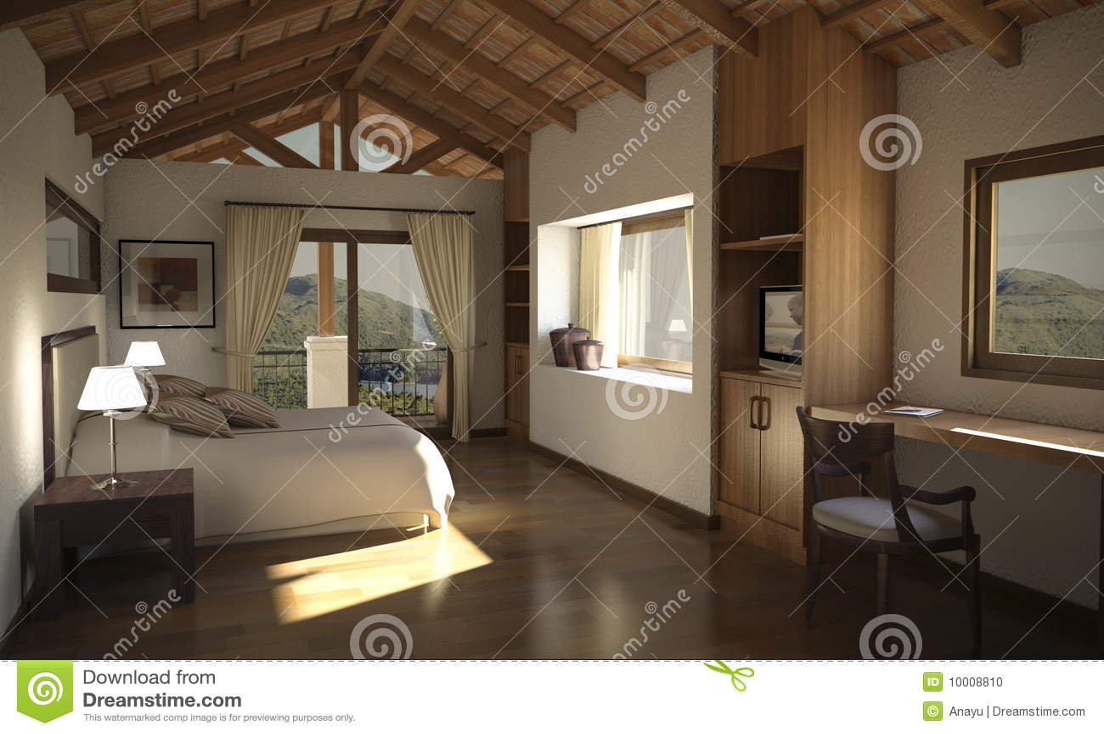 Digital interior of a country house stock photo image for Interiores de casas