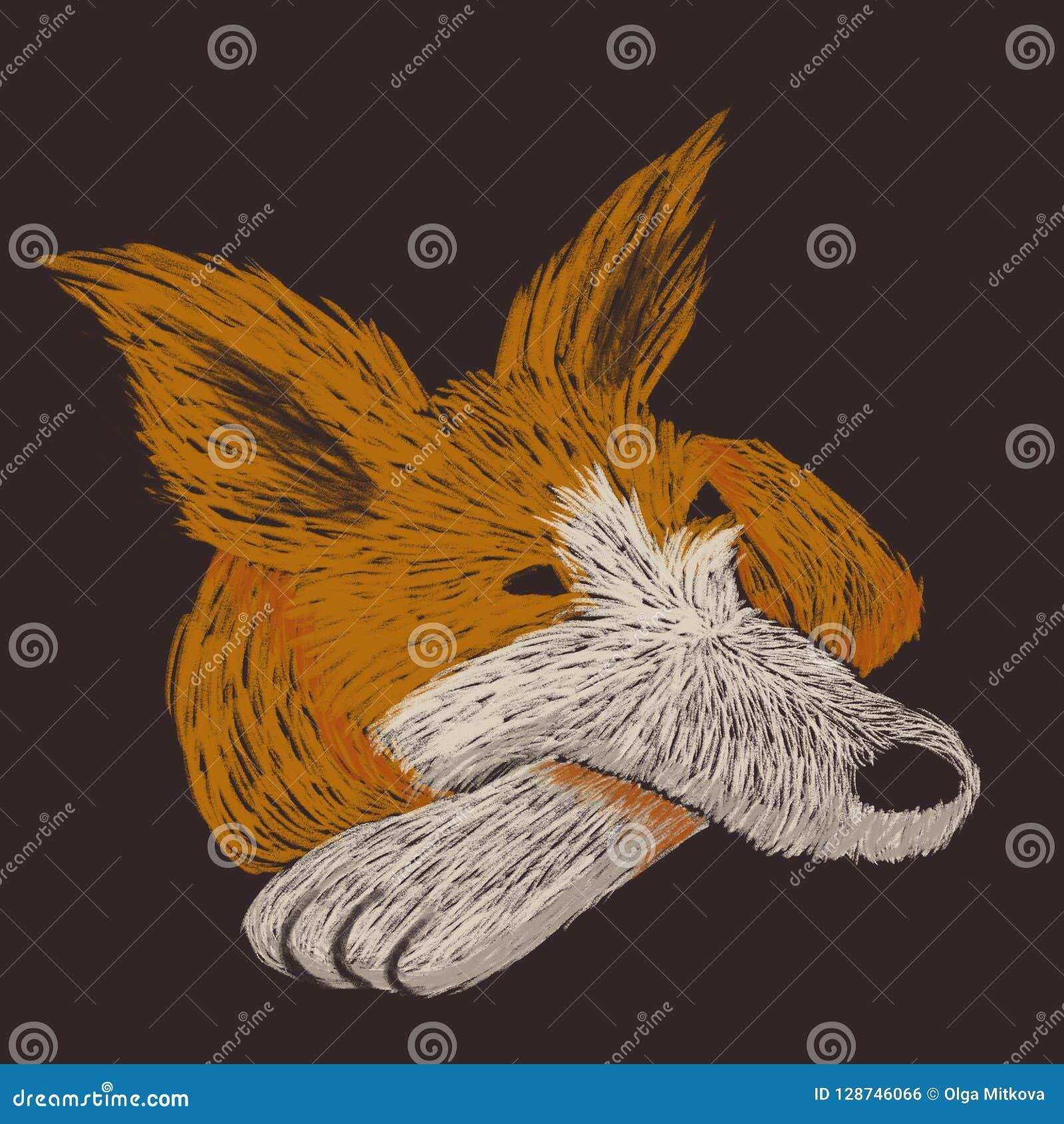 Digital knapphändig illustration av en röd hund som har en vila