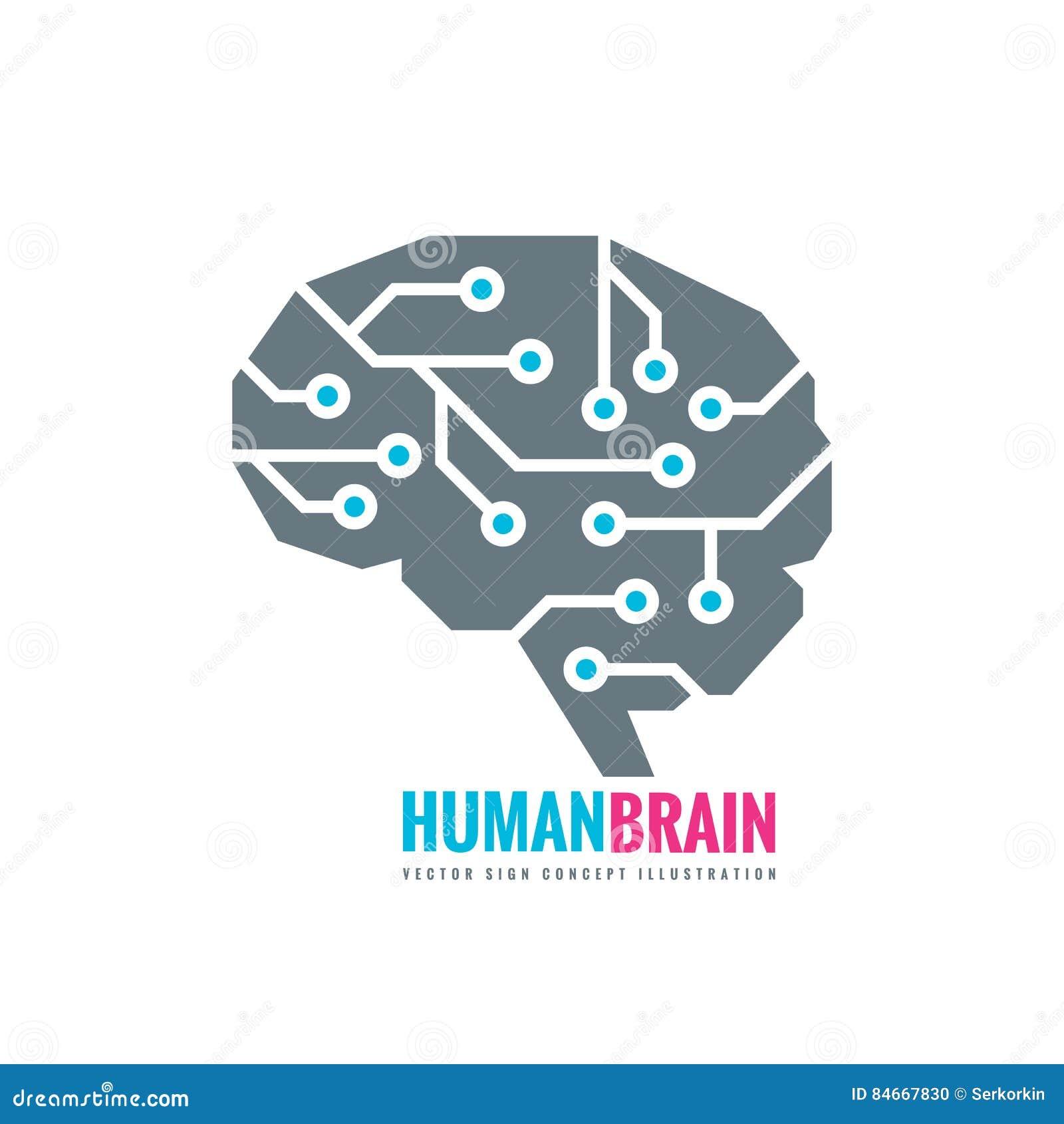 Digital mänsklig hjärna - illustration för vektorlogobegrepp Meningstecken Idérikt symbol för framtida teknologi för elektronisk