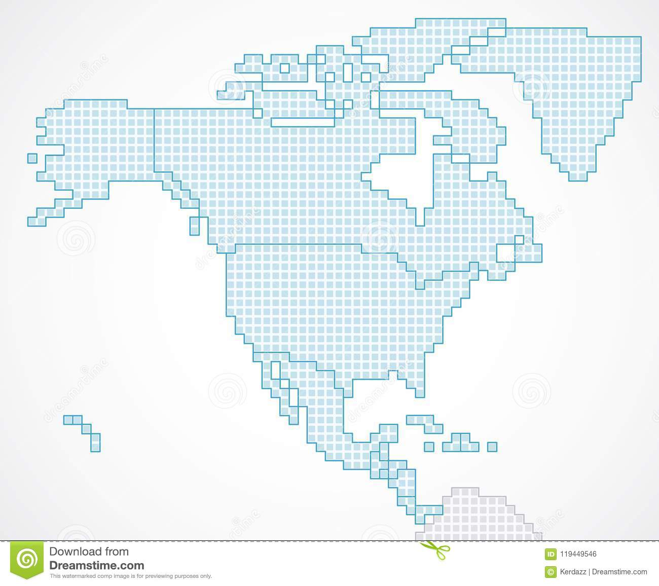 State Map Of North America.North America Continent With State Borders Stock Vector