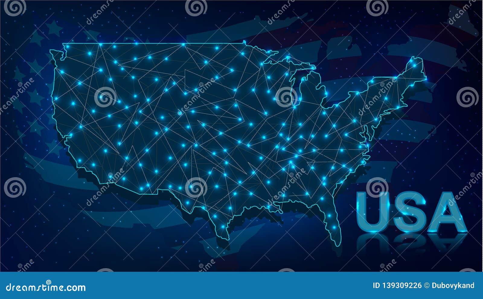 Digital Map of USA with Neon Illuminated Lights