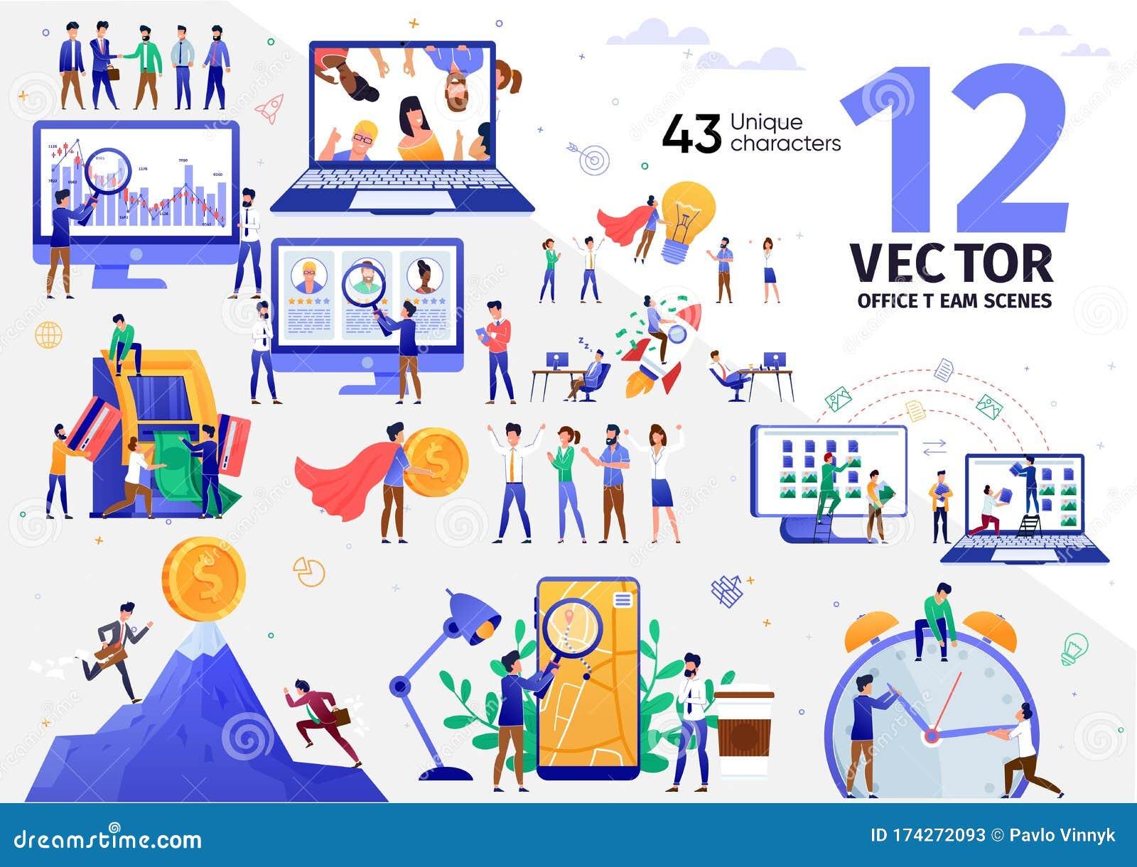 Digital Marketing Business Team Vector Scenes Set Stock Vector Illustration Of Concept Company 174272093
