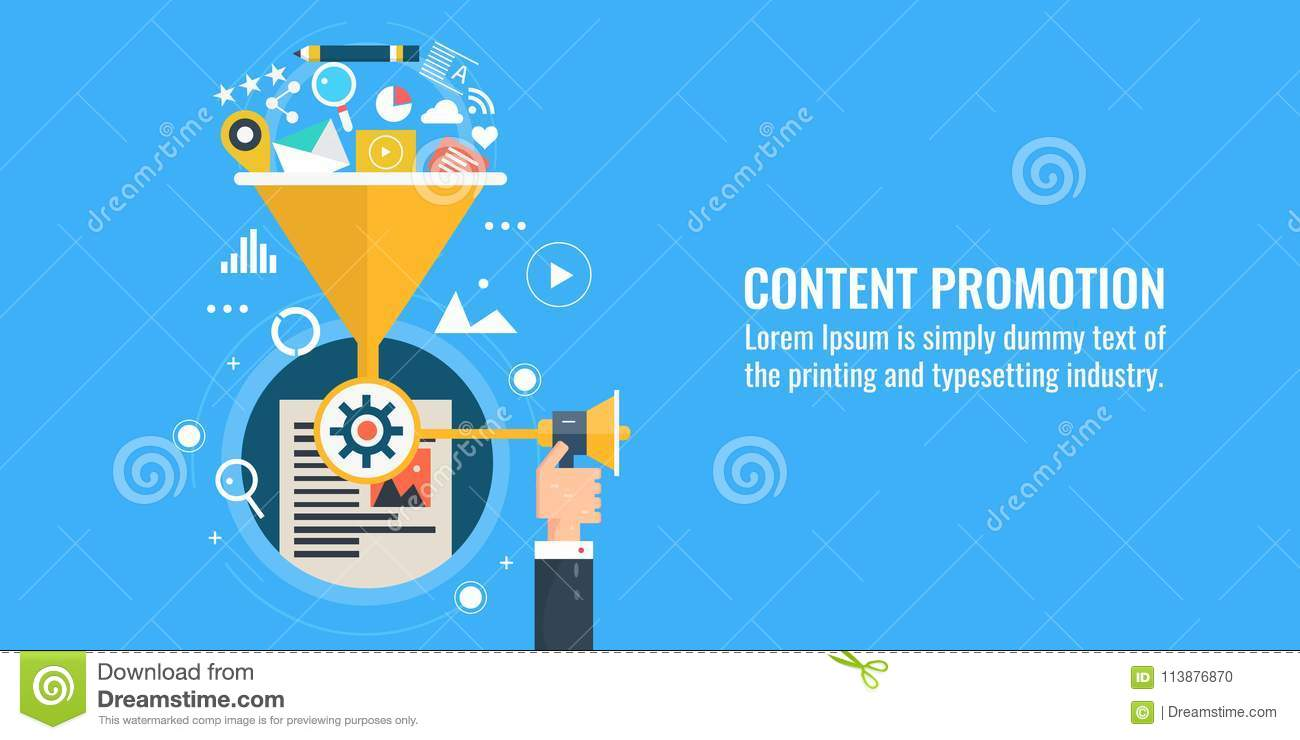 Content marketing, promotion, sharing, strategy, digital marketing, web advertising concept. Flat design vector banner.