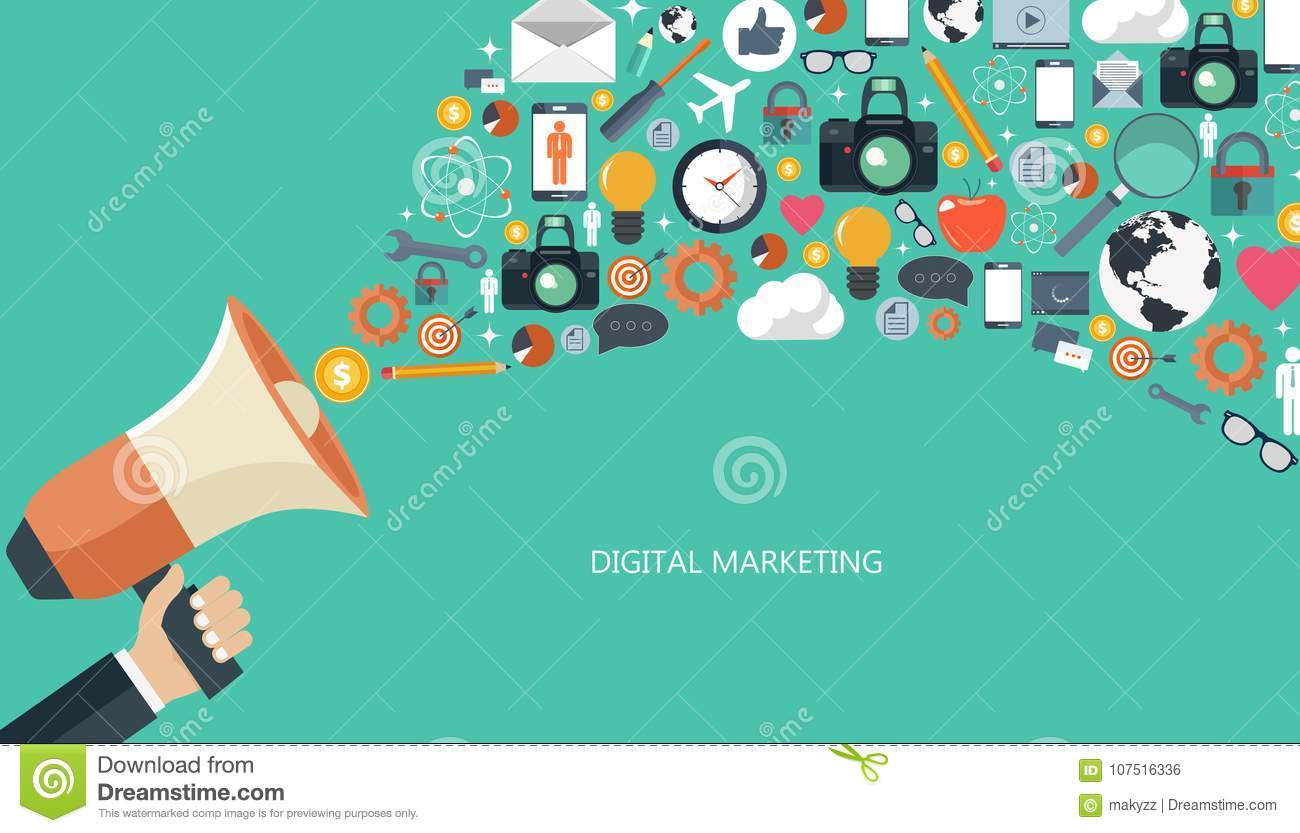 Download Digital Marketing And Advertising Concept. Flat Illustration. Stock Vector - Illustration of evaluation, comment: 107516336
