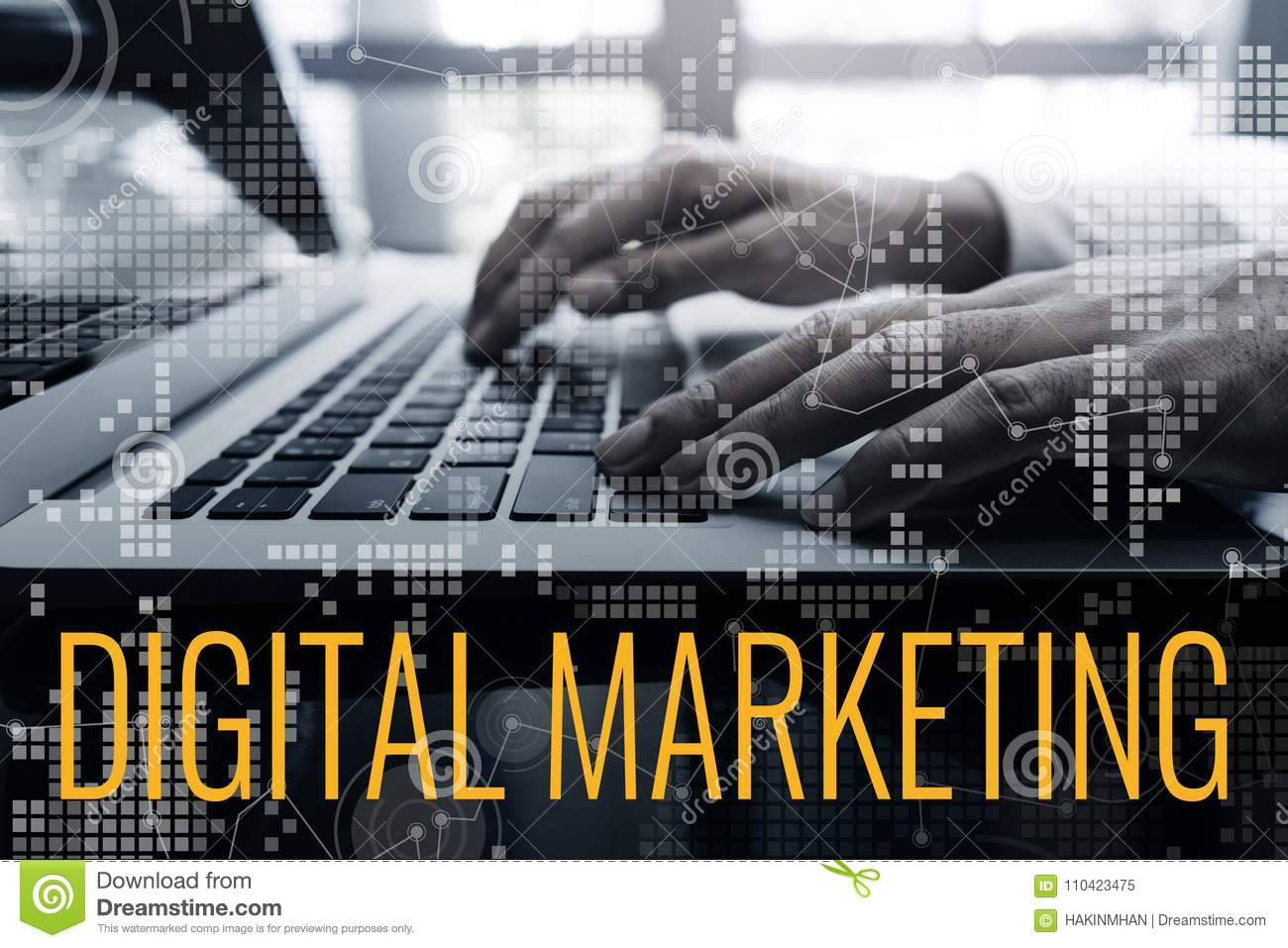 Digital marketing concepts ideas with male hand using laptop and chart interface
