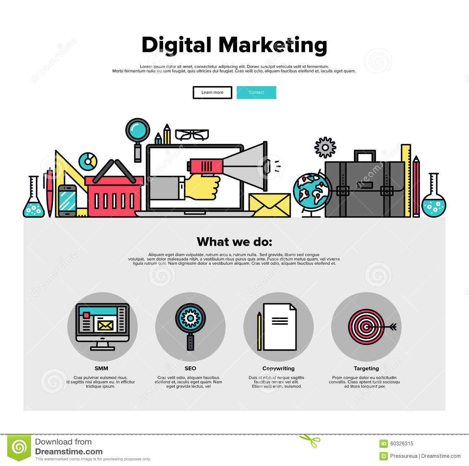 online marketing campaign template - digital marketing flat line web graphics stock vector