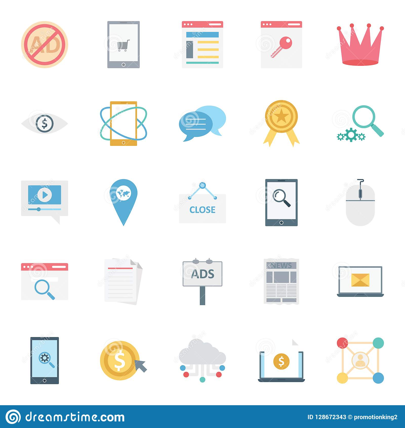 Digital Marketing Isolated Vector Icons Set can be easily modified or edit