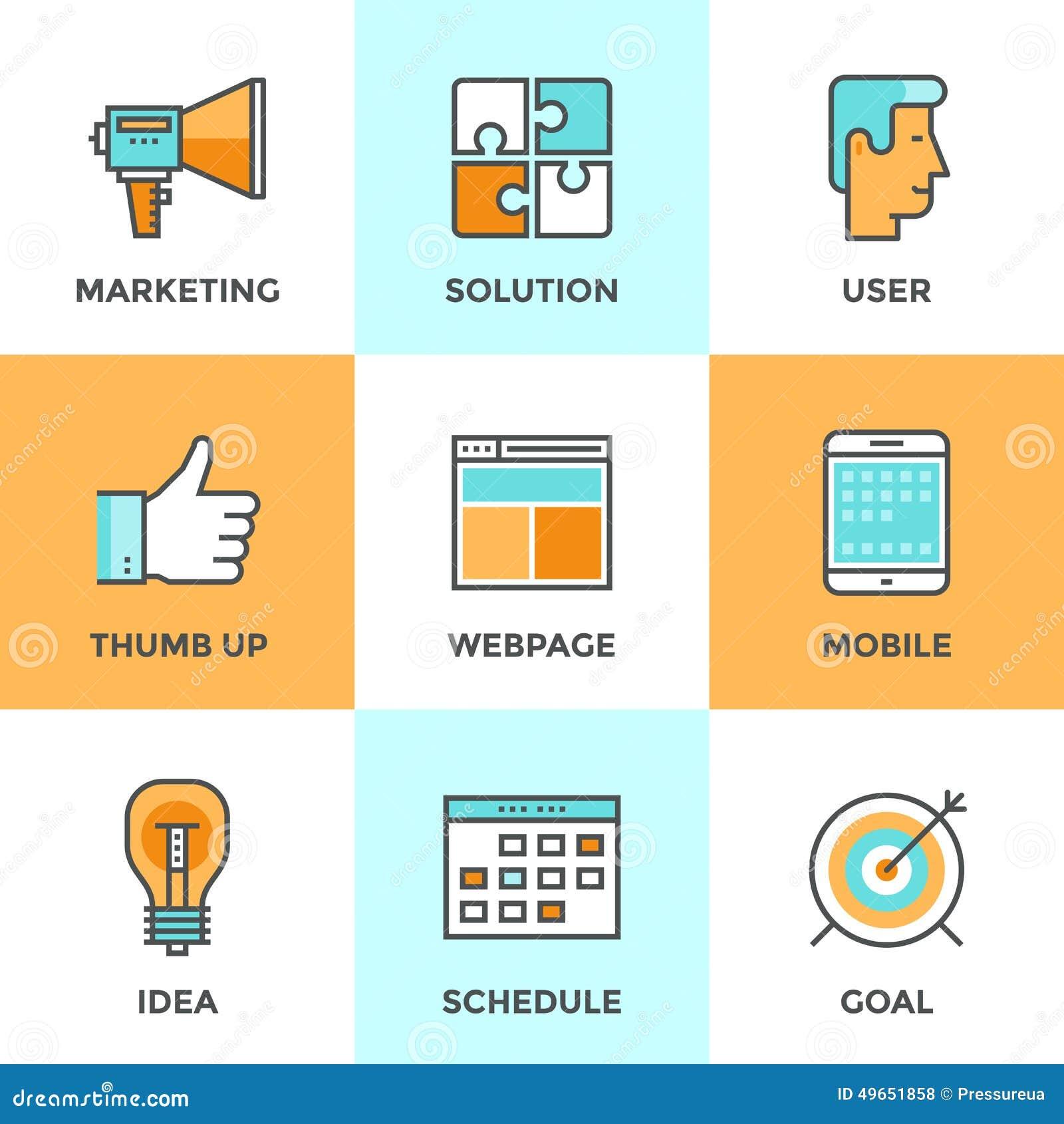 Line Design Solutions : Digital marketing line icons set stock vector image