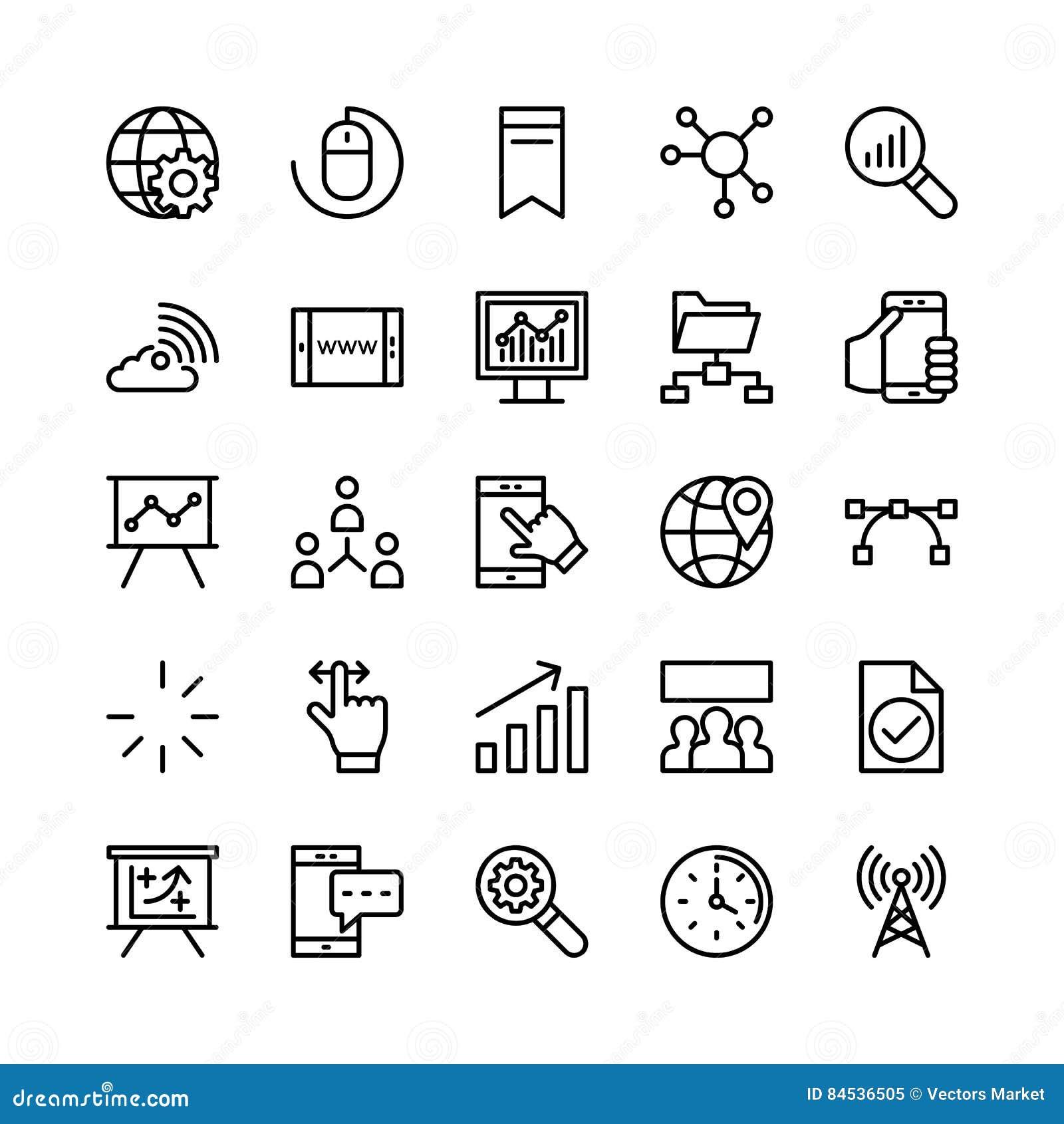 Digital marketing line vector icons 1 royalty free stock for Digital marketing materials
