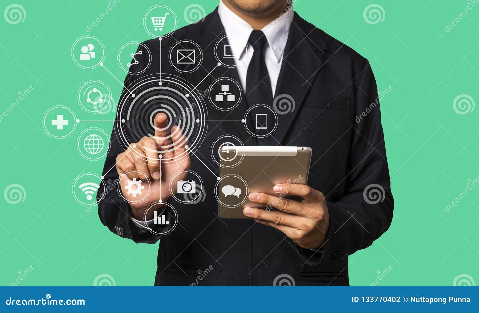 Digital marketing media in virtual screen.business