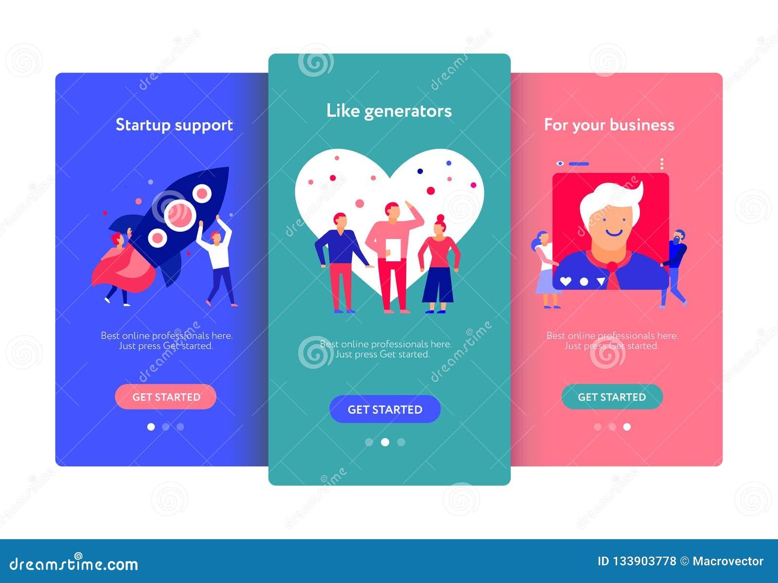 Digital Marketing Mobile Screens Set