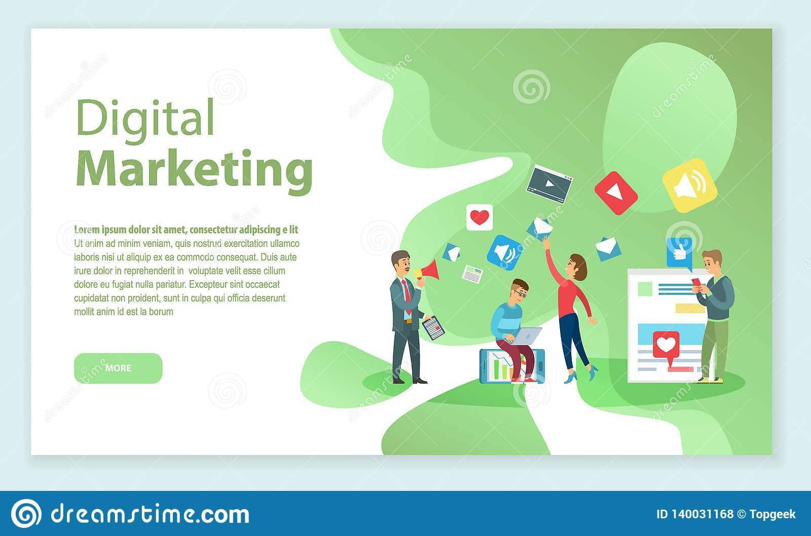 Digital Marketing People Working On Brand Name Stock Vector