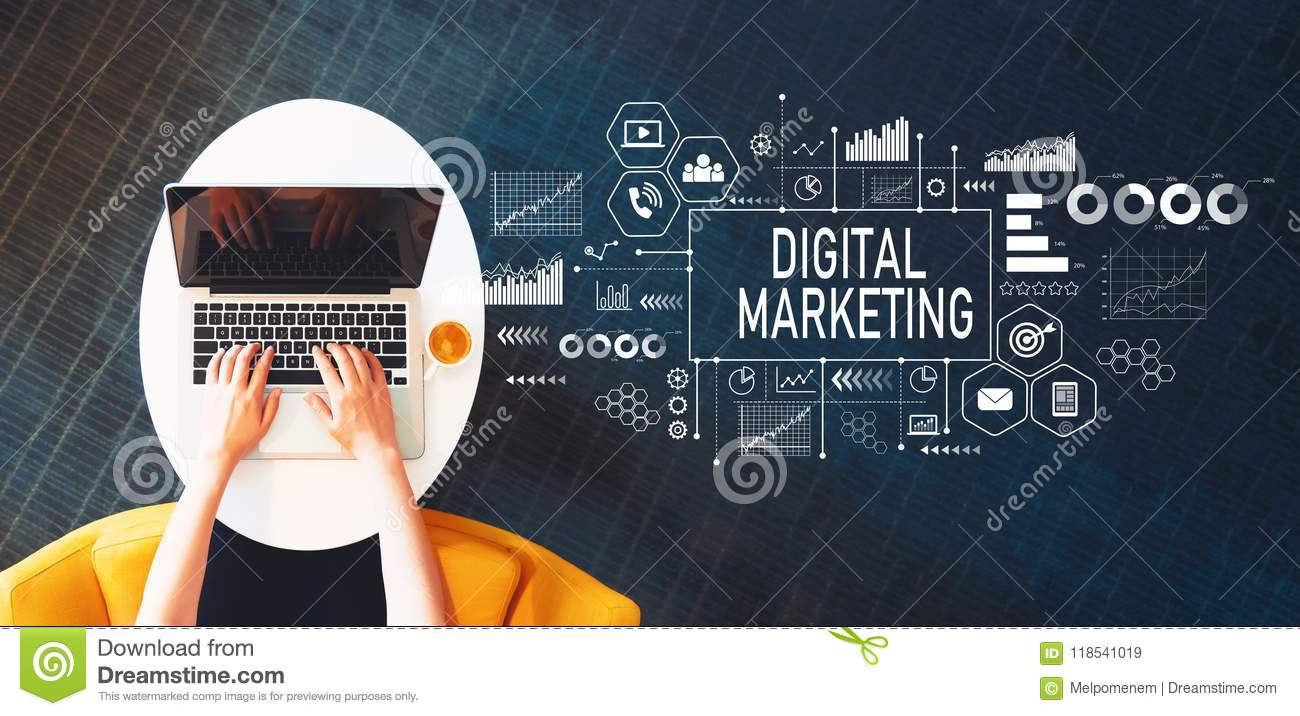 Digital Marketing with person using a laptop