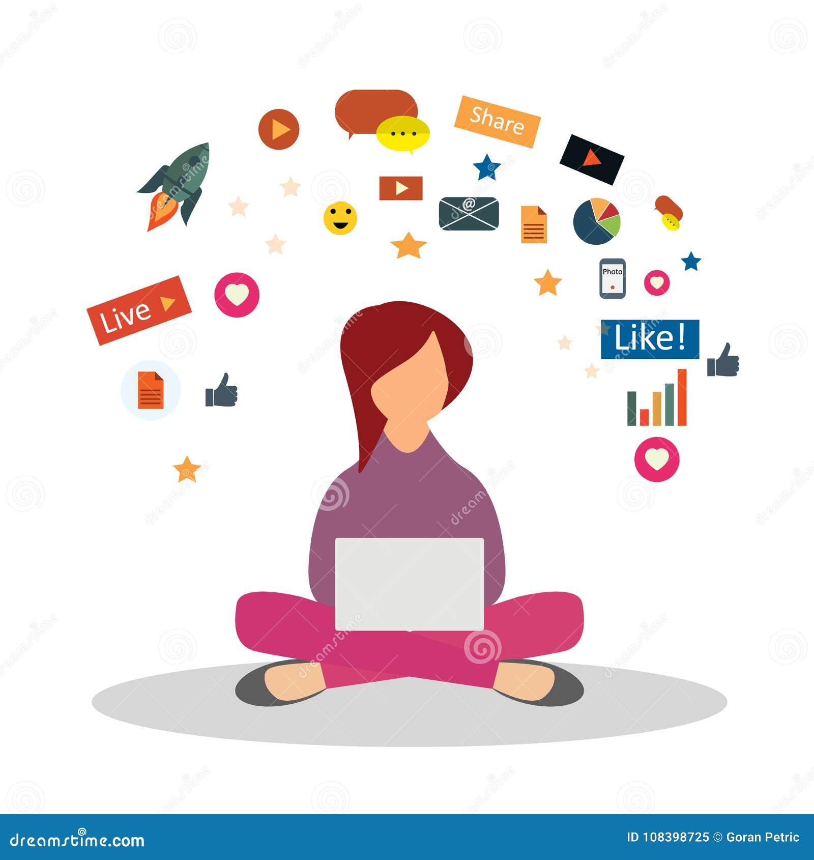 Digital Marketing Specialist Practicing Yoga Digital Marketing Concept Stock Illustration Illustration Of Commerce Media 108398725