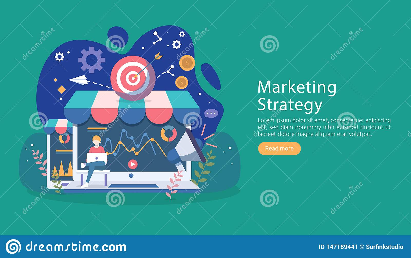 digital marketing strategy concept with tiny people character. online ecommerce business in modern flat design template for web