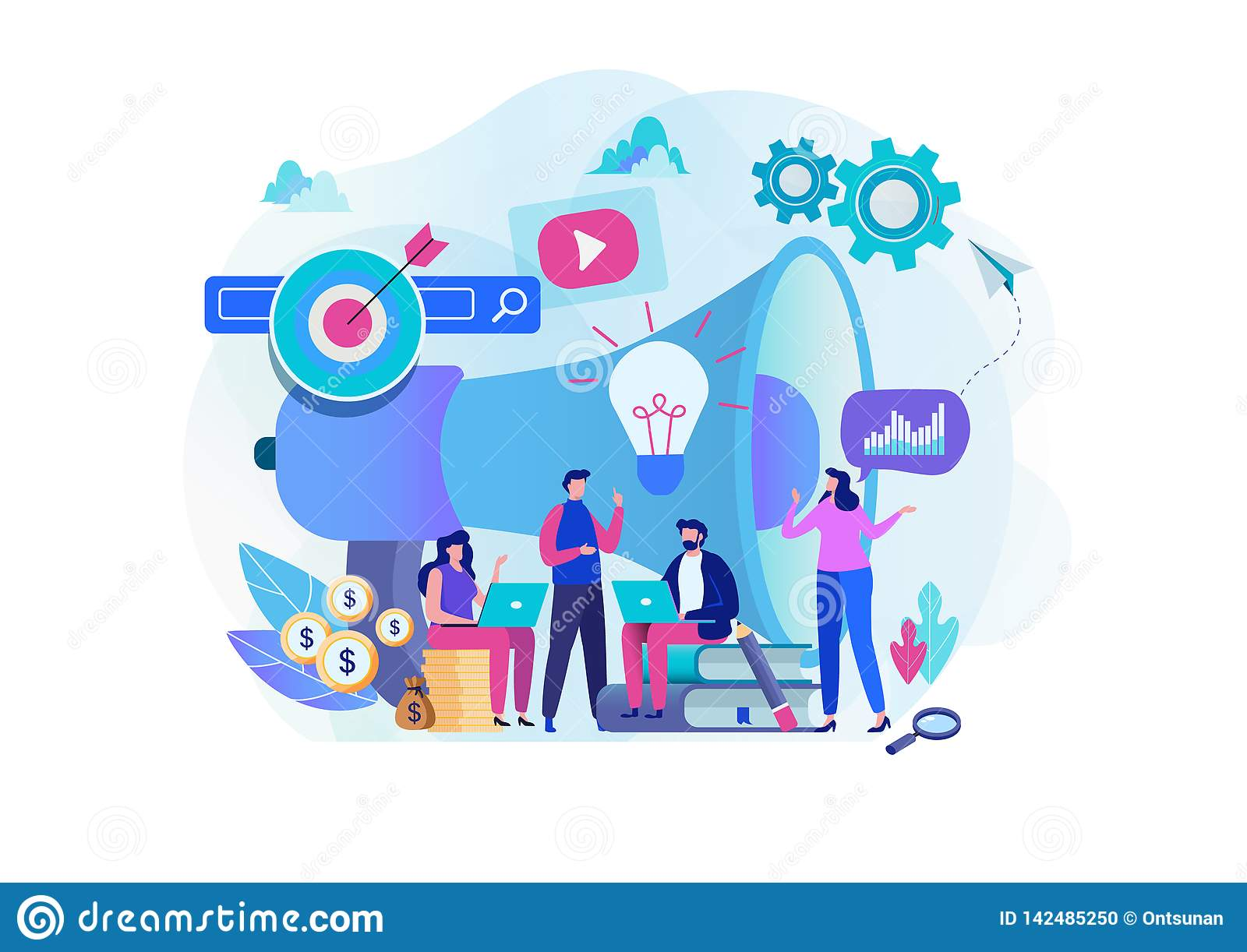Digital marketing strategy team. Content manager. Flat cartoon character graphic design.