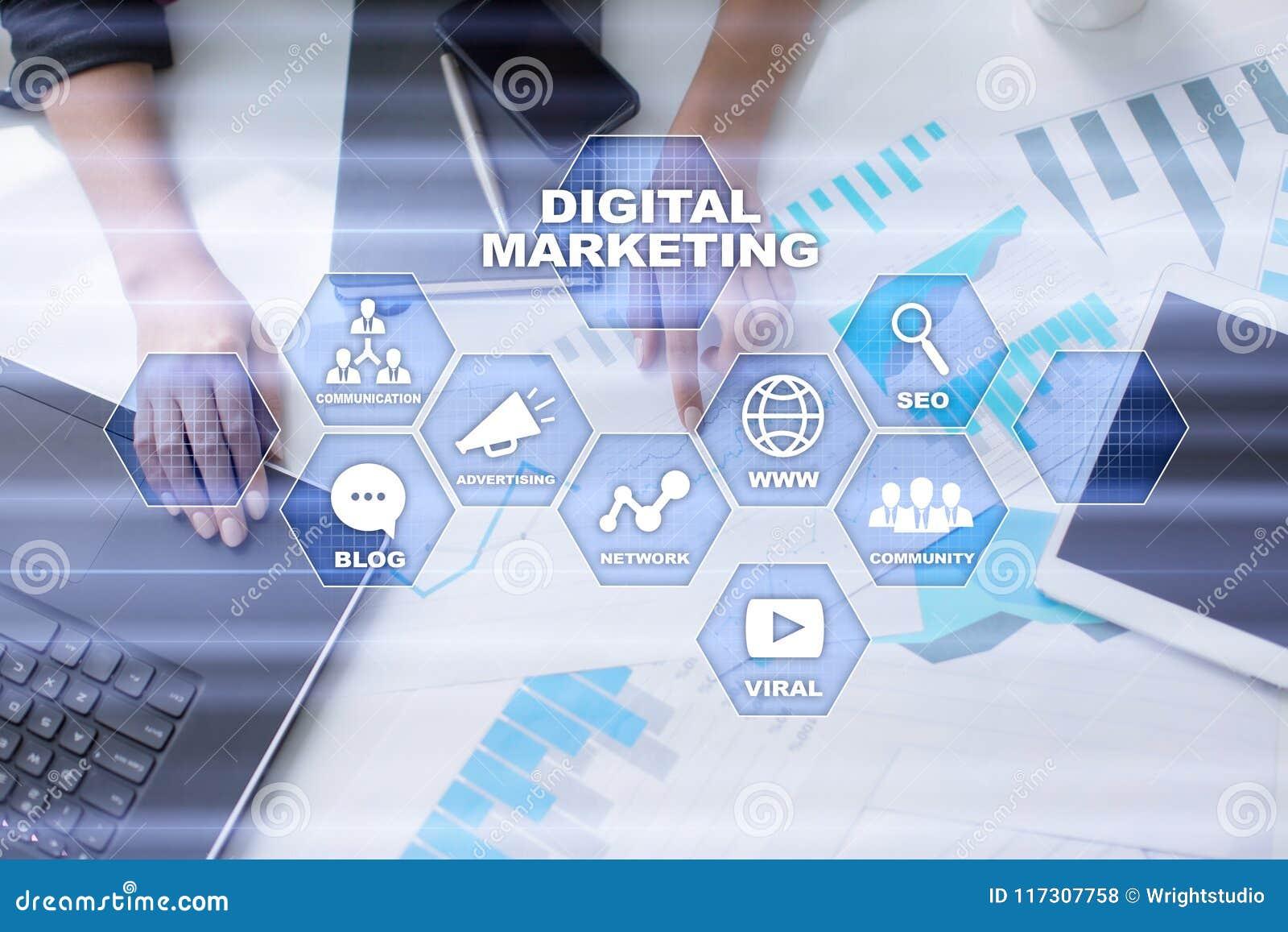 Digital-Marketing-Technologiekonzept Internet Online Suchmaschinen-Optimierung SEO SMM bekanntmachen