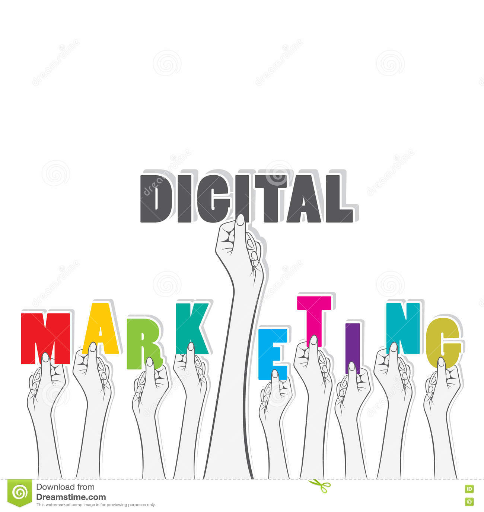 digital marketing text banner design stock vector  image: 67328249