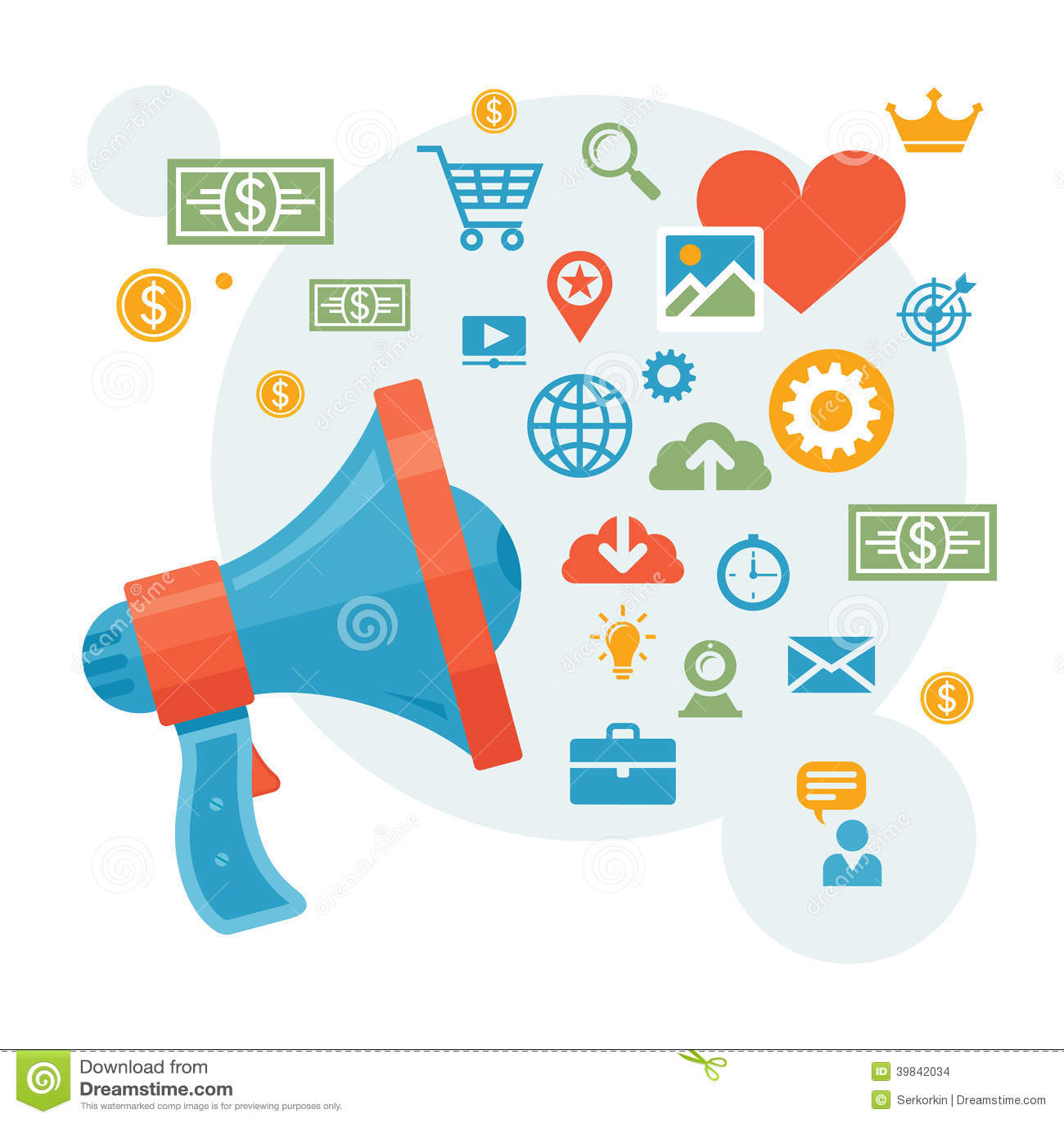 Digital-Marketing U. Werbung - Lautsprecher-Konzept-Vektor ...