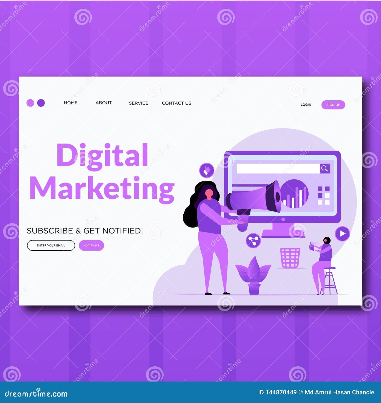 Digital Marketing- Vector flat style Digital Marketing landing page illustration