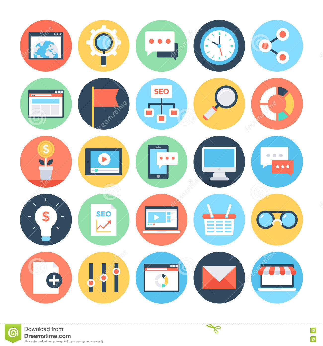 Digital marketing vector icons 3 stock illustration for Digital marketing materials