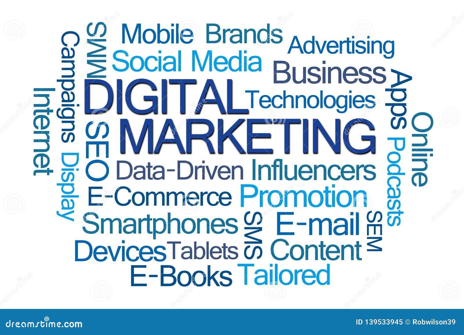 Digital Marketing Word Cloud Stock Illustration