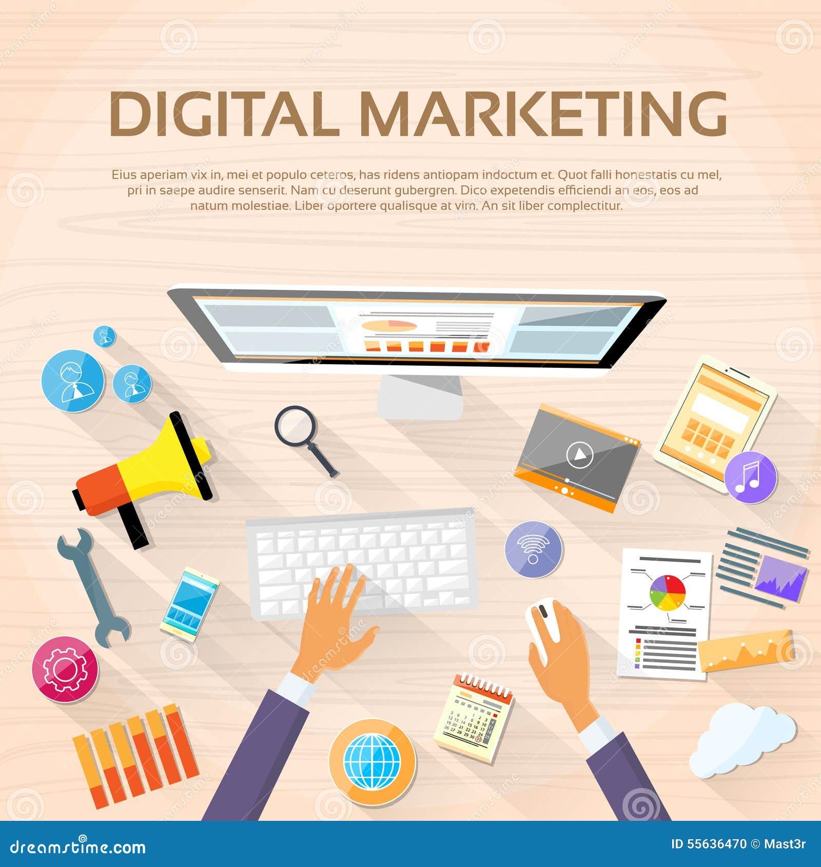 Digital Marketing Workspace Desktop Workstation Stock