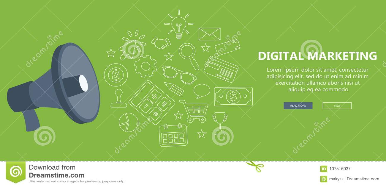 Digital marknadsföring och advertizingbegrepp Plan illustration