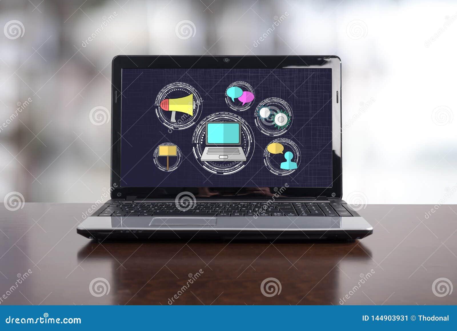 Digital marknadsf?ringsbegrepp p? en b?rbar dator