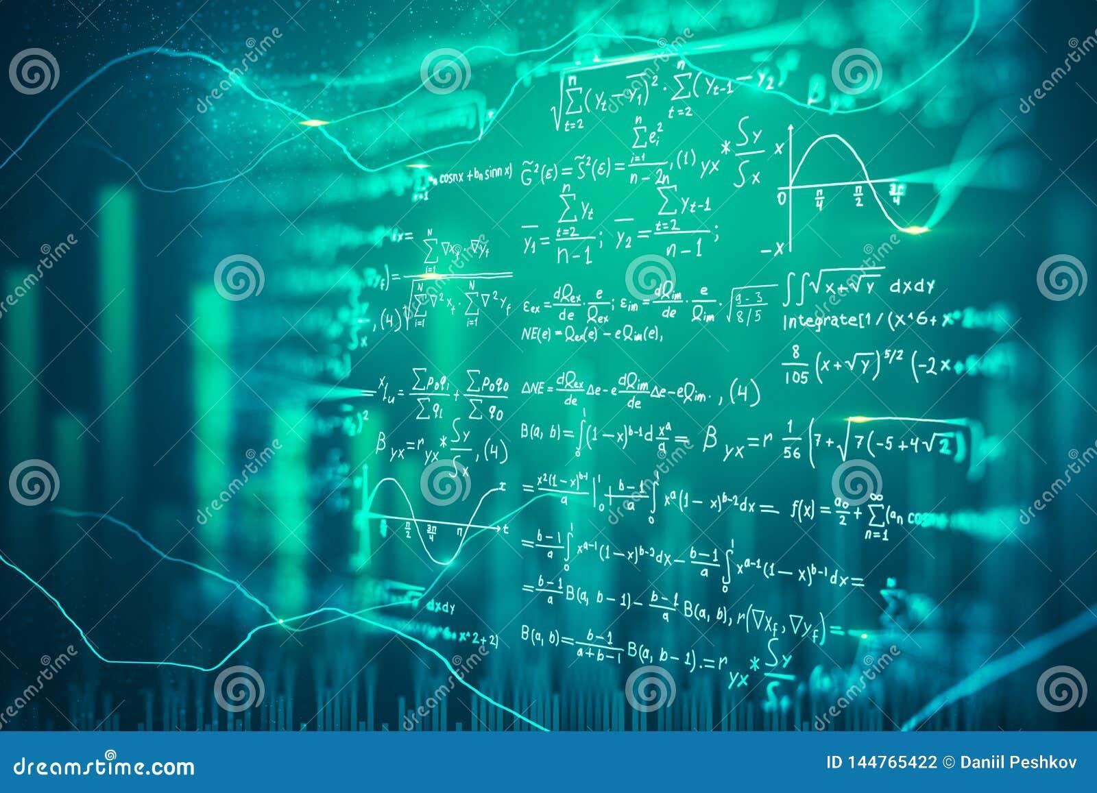 Digital Mathematical Formulas Background Stock Illustration