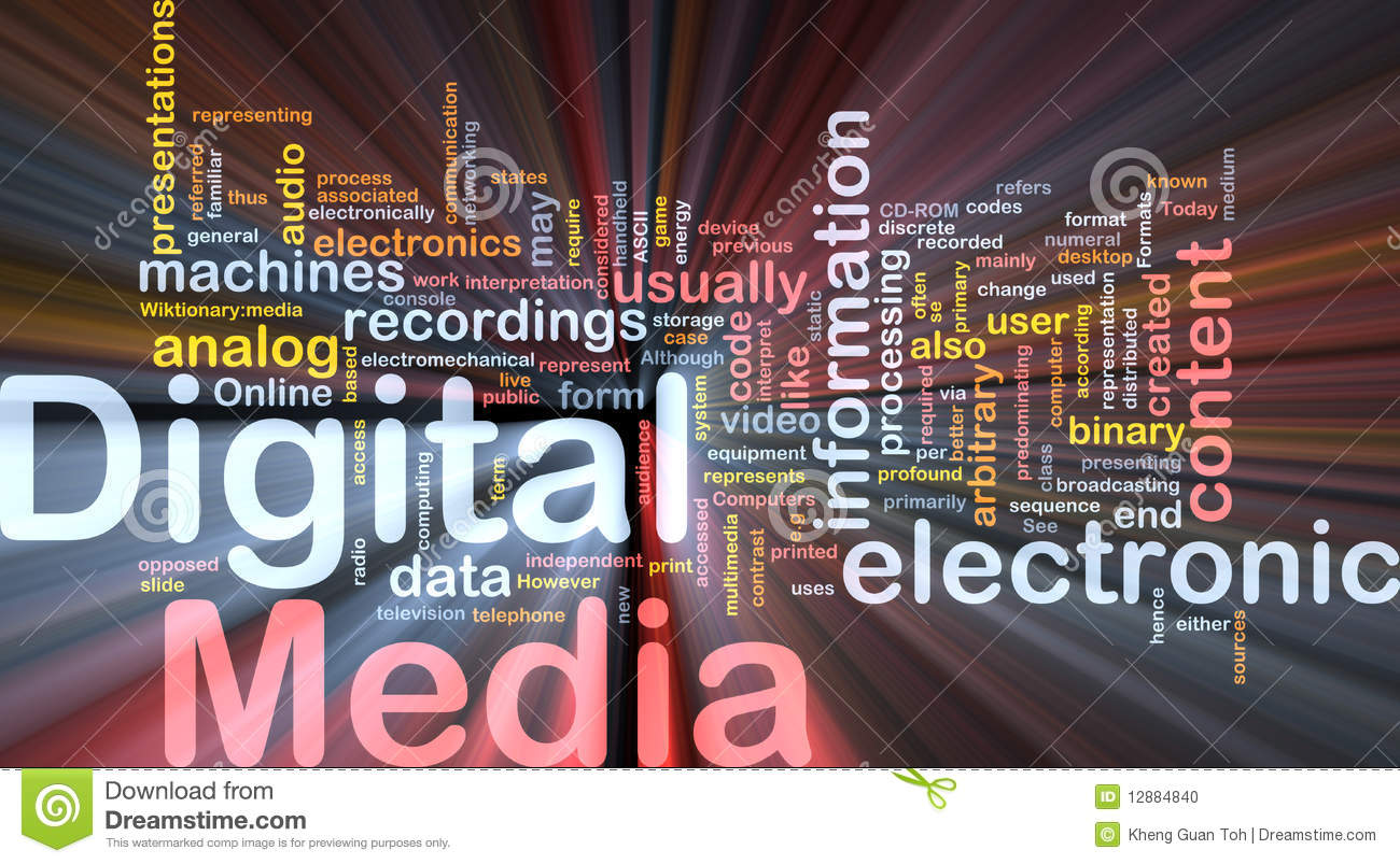 digital media background concept glowing stock photo