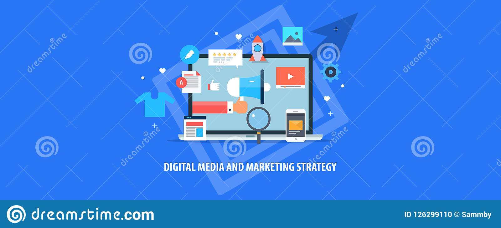 Digital Media, Internet Marketing, Content Promotion, Email, Mobile, Viral Video Content, Marketing Strategy Concept. Stock Vector - Illustration of rating, glass: 126299110