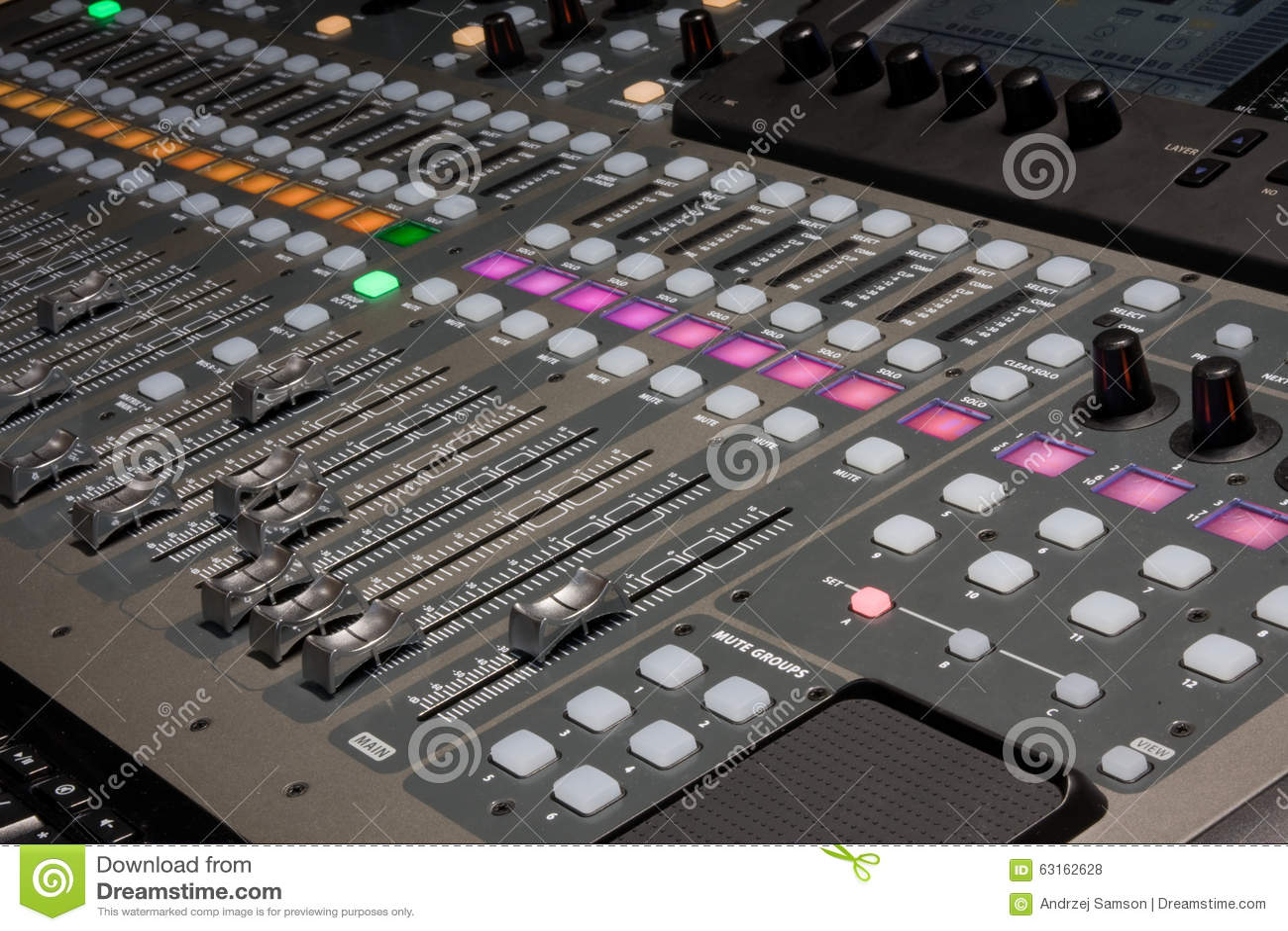 digital mixer in recording studio stock photo image of recording technology 63162628. Black Bedroom Furniture Sets. Home Design Ideas