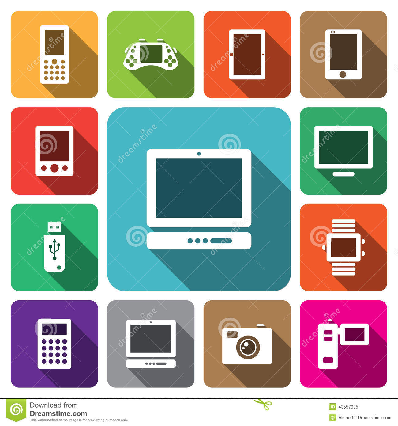 Digital Multimedia Electronic Device Icon Set Stock Vector - Image ...