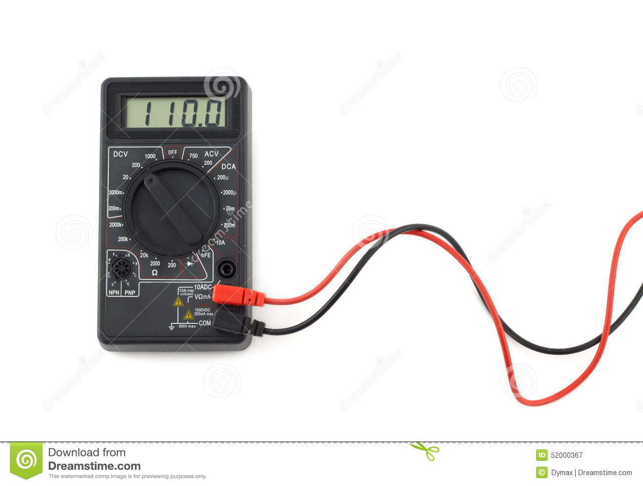 Digital multimeter with red and black wires shows 110 volts on LCD display