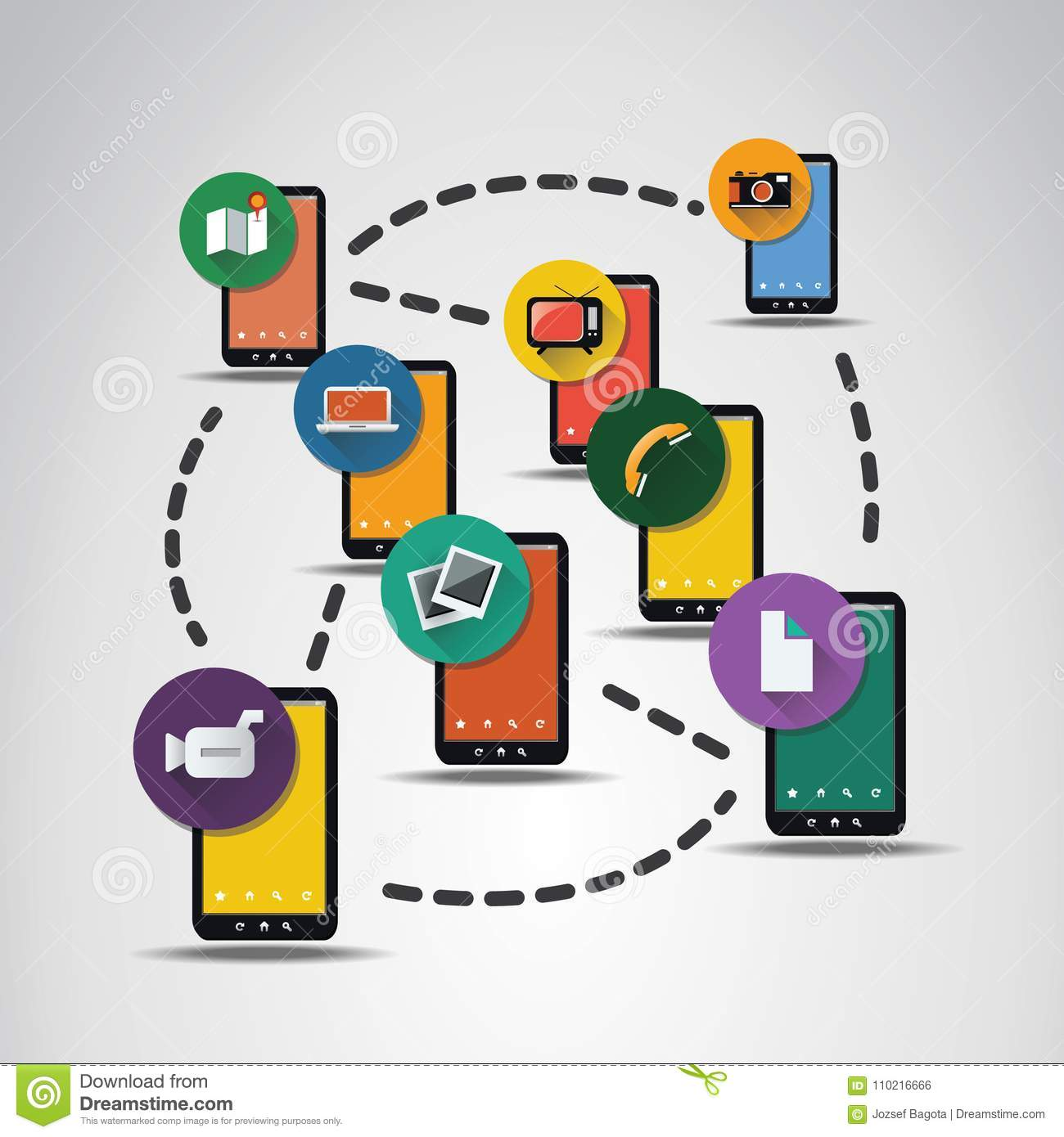 Digital Network Connections, Technology Background With Icons Stock ...