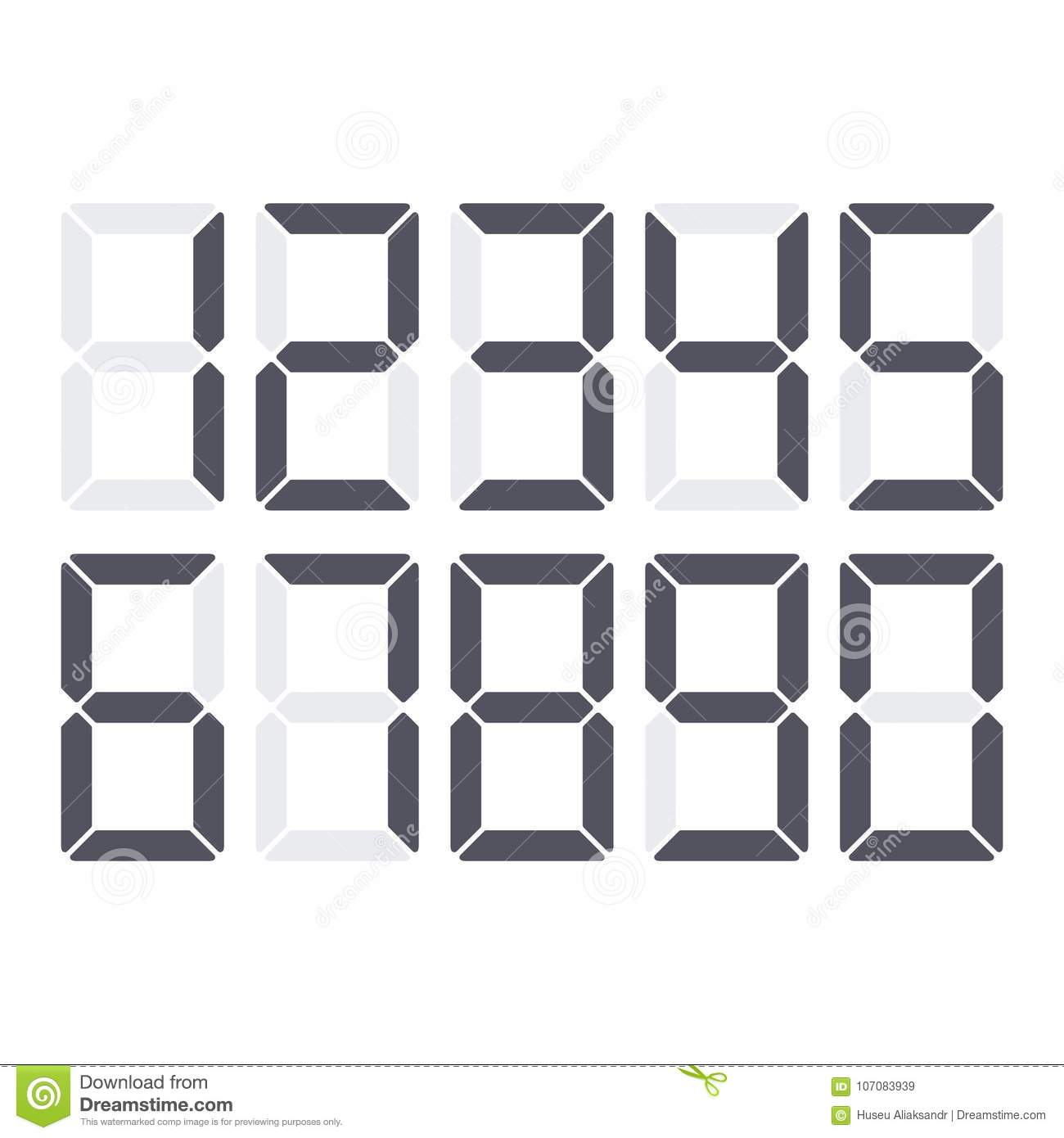 digital numbers set stock vector illustration of number 107083939