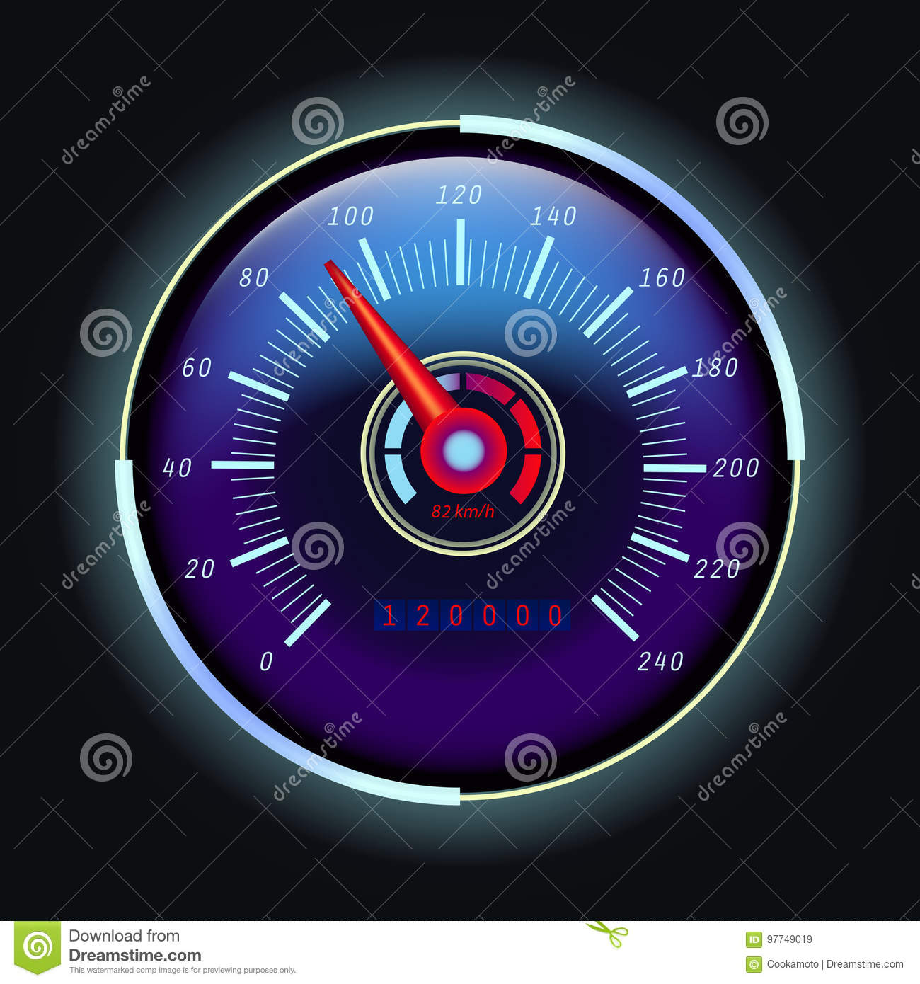 Digital Odometer And Analog Speedometer With Arrow Stock Vector