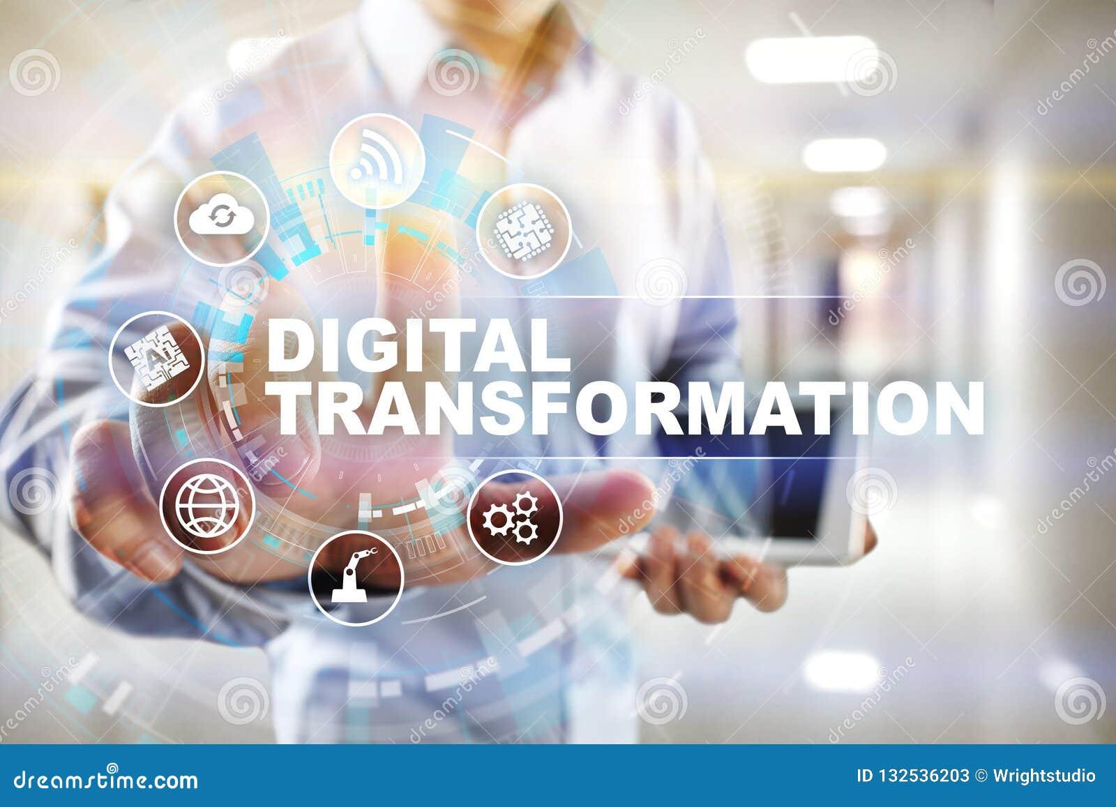 Digital omformning, begrepp av digitization av affärsprocessar och modern teknologi
