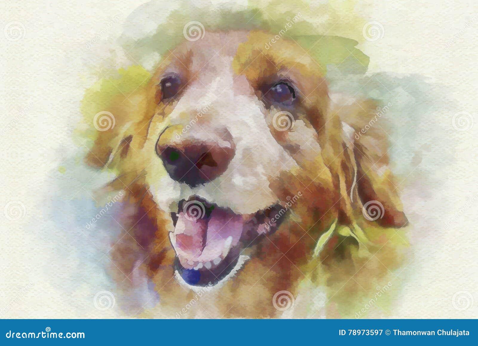 Digital Painting Dog Portrait Stock Illustration Illustration Of