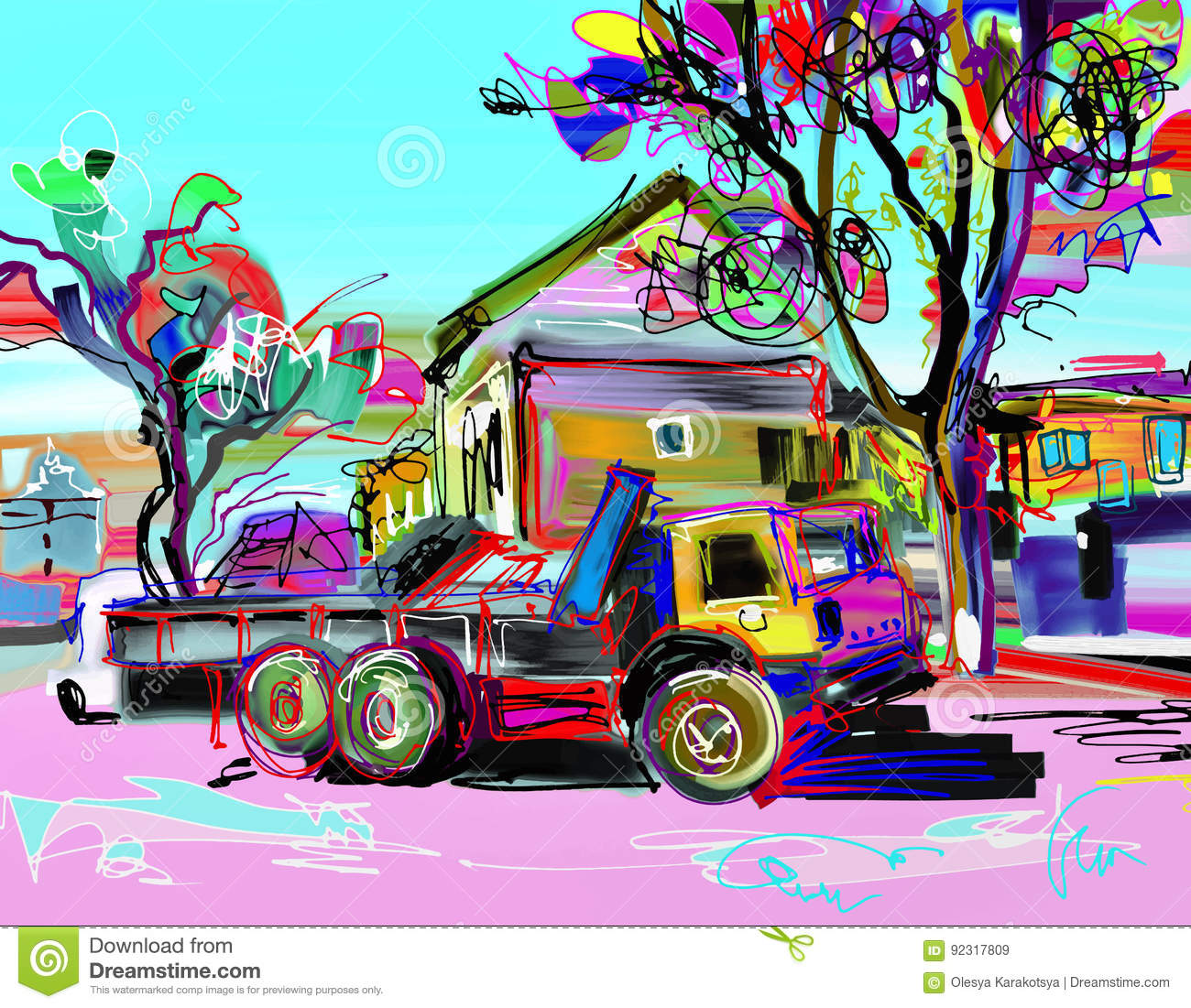 Digital Painting Of Rural Landscape With Car Stock Vector