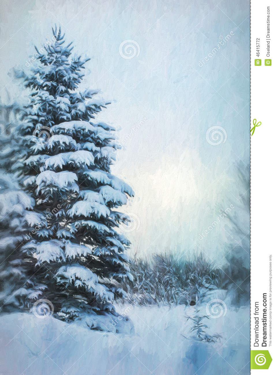Digital Painting Winter Evergreen Tree Background Stock