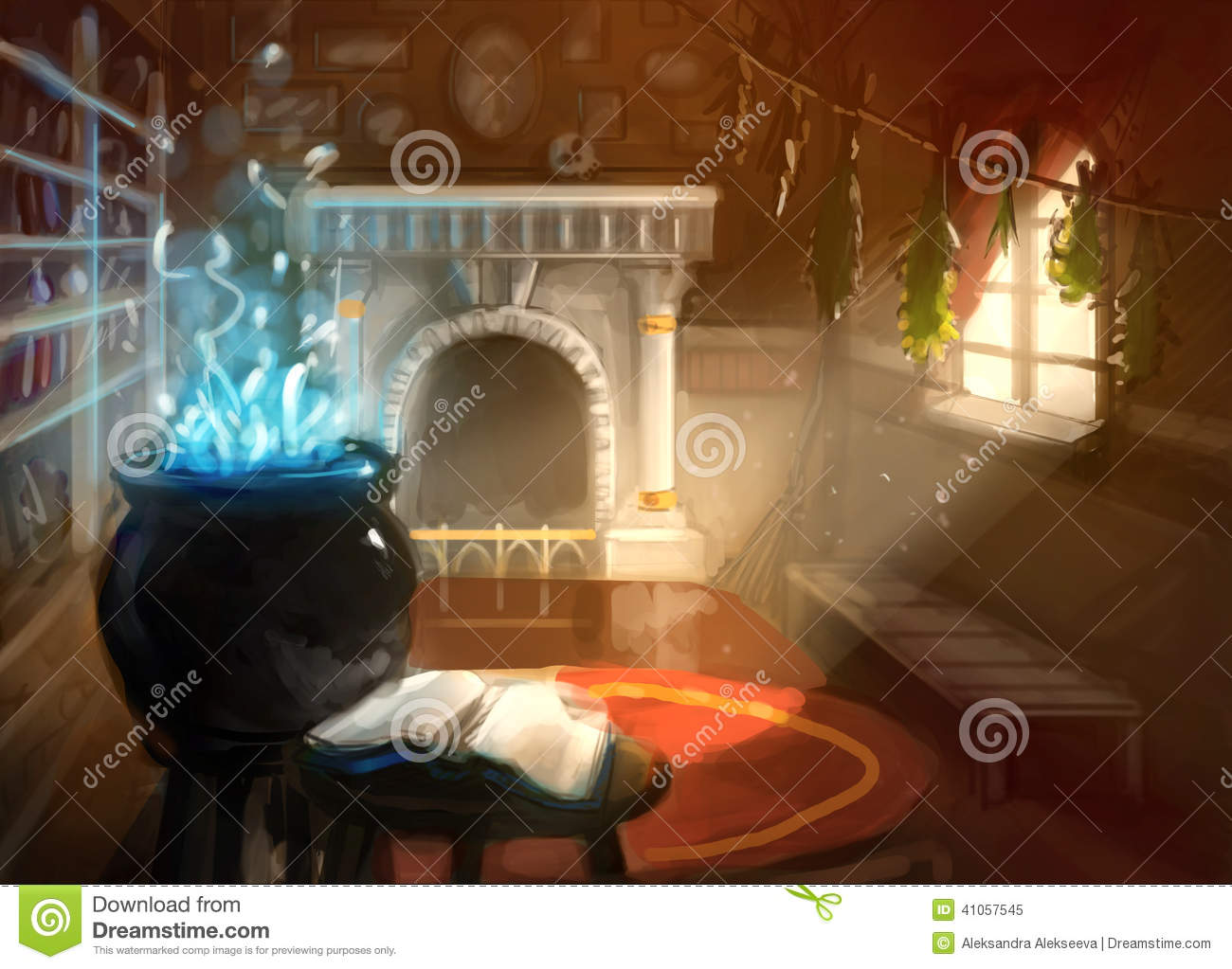 Digital painting wizard house interior stock image for Digitally paint your house