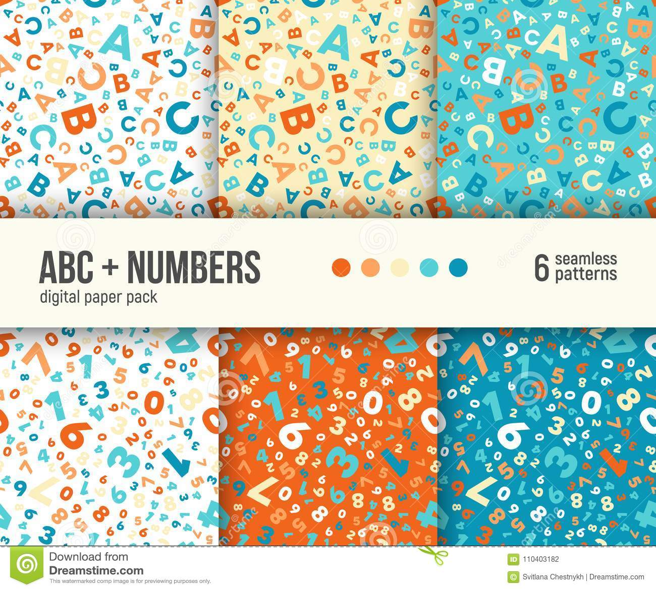 Digital paper pack, 6 abstract patterns, ABC and math backgrounds for kids education