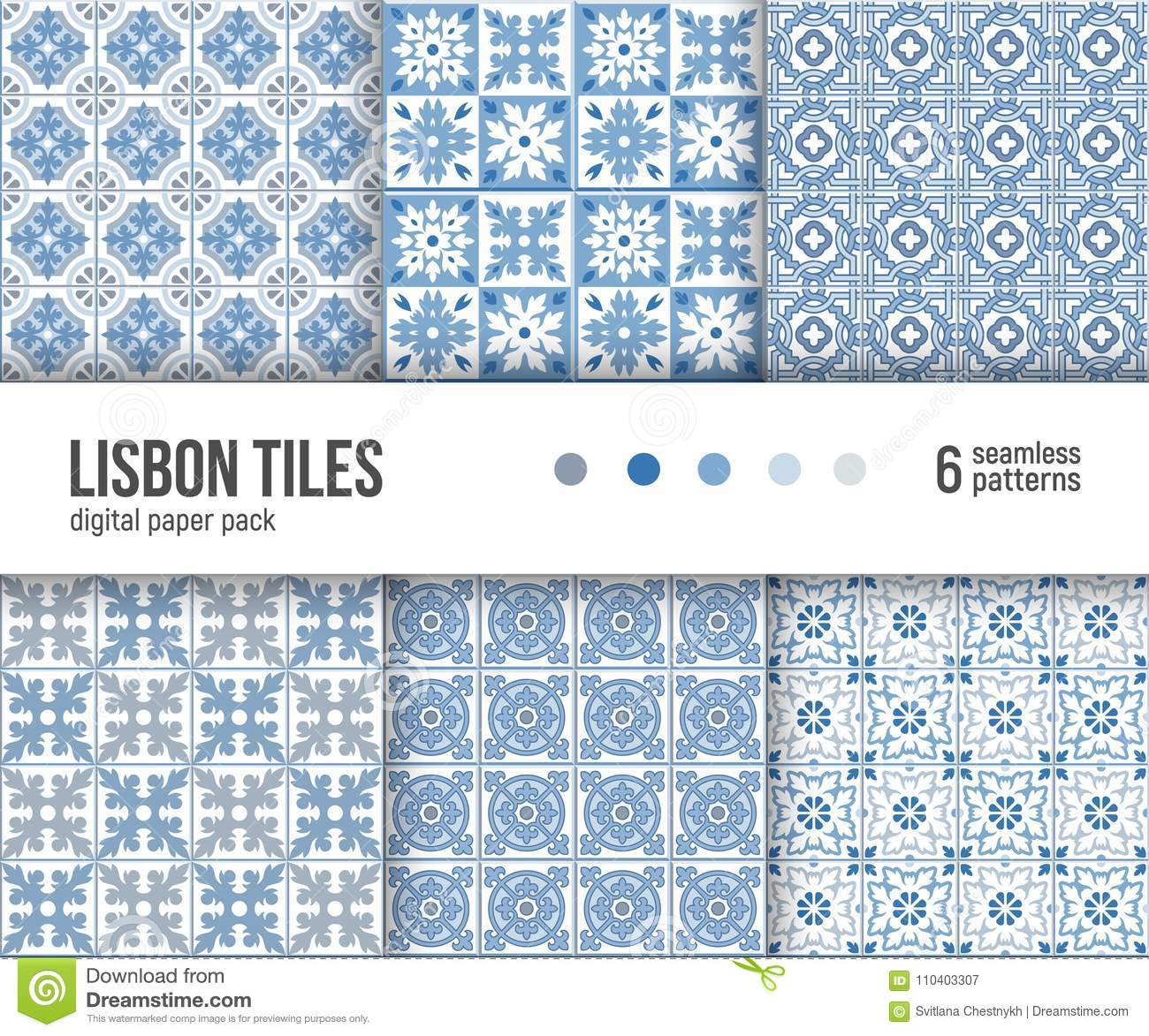Digital Paper Pack, 6 Portuguese Floor Tiles Patterns, Blue And ...