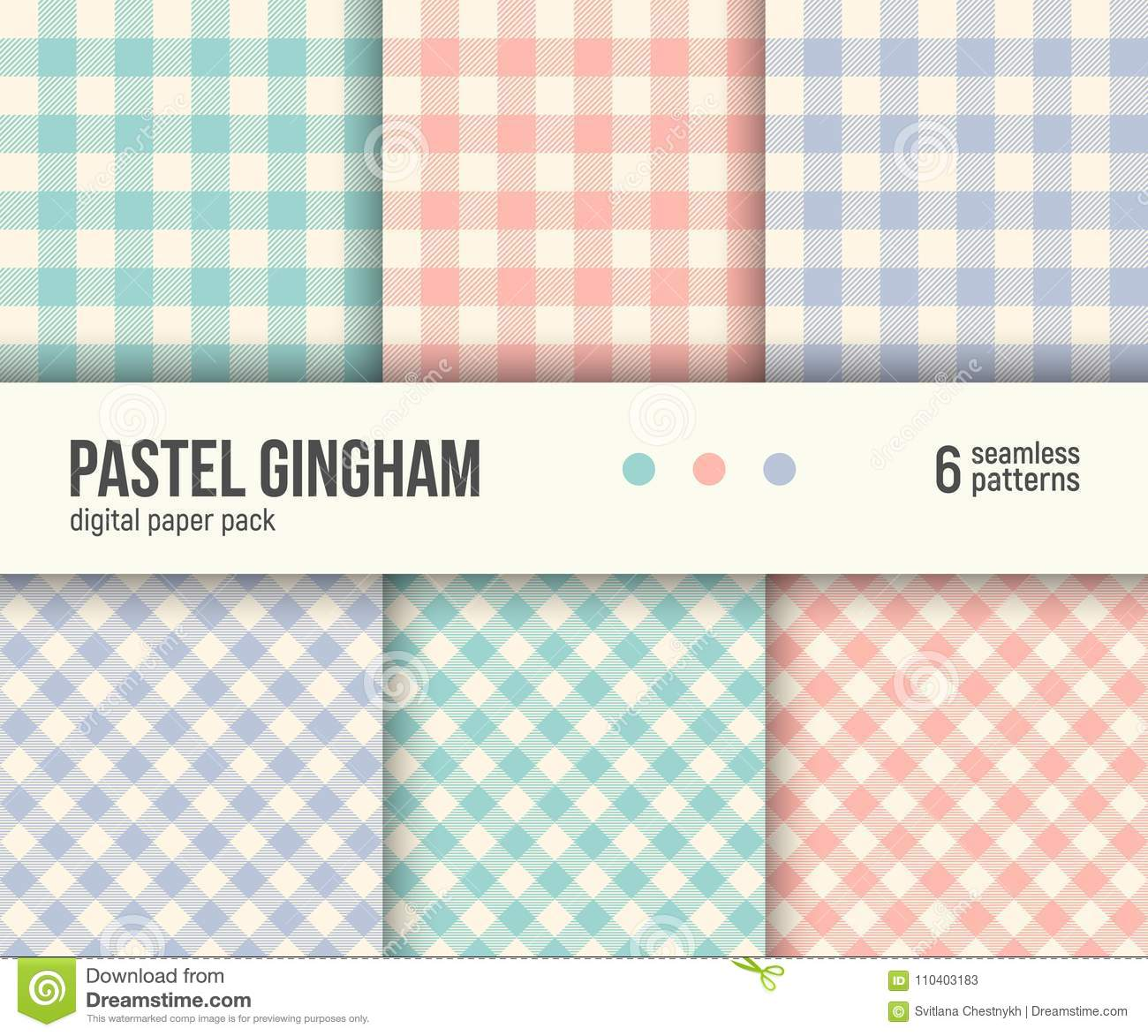 Digital paper pack, 6 traditional Gingham patterns, pastel colors