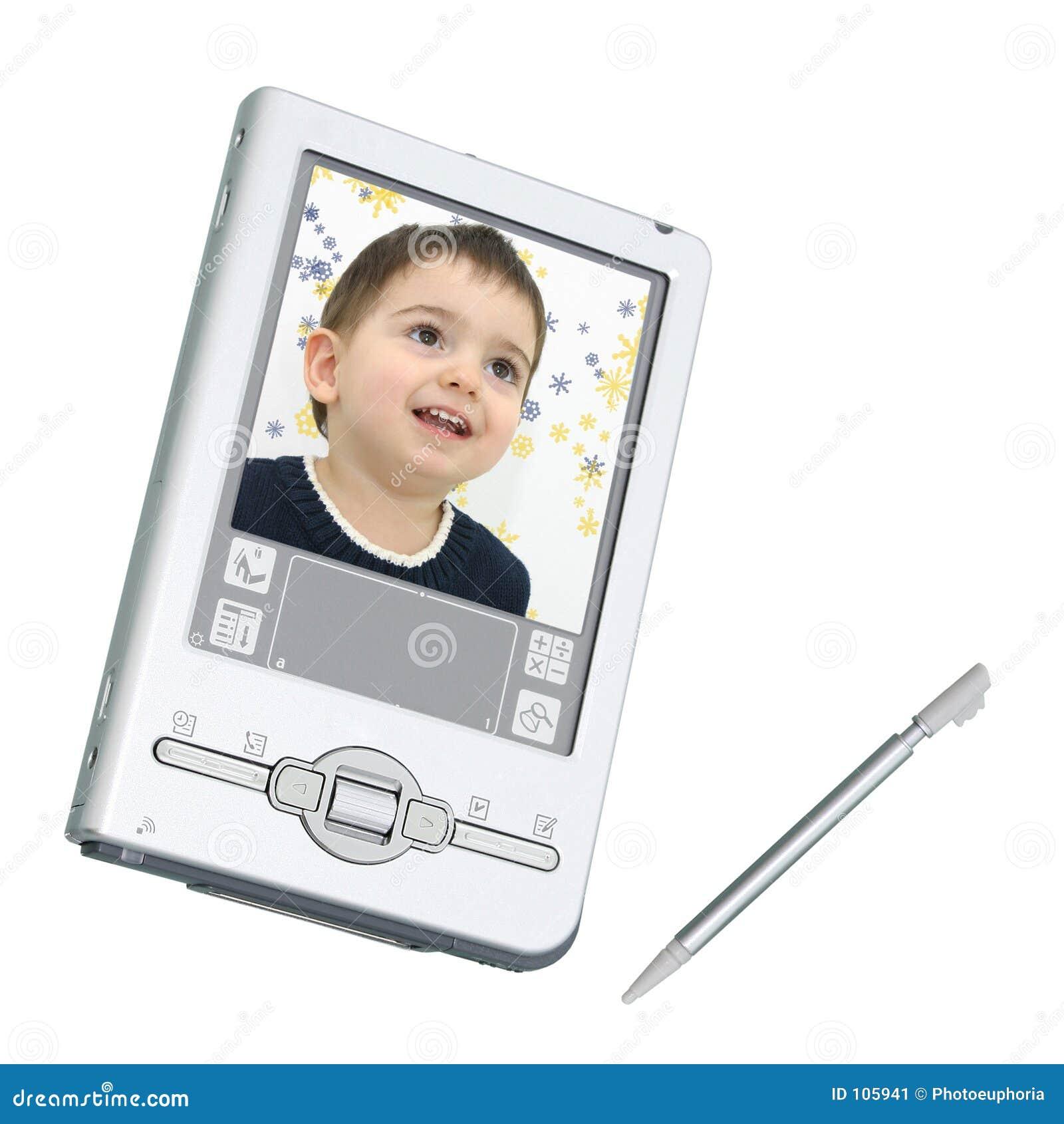 Digital PDA u. Stift über Weiß