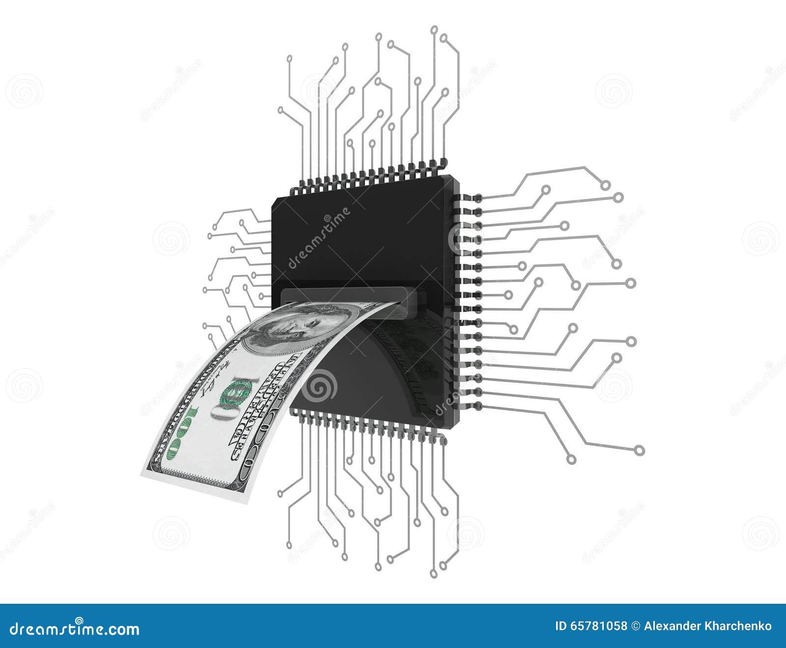 Digital pengarbegrepp Dollar räkning över mikrochipers med strömkretsen