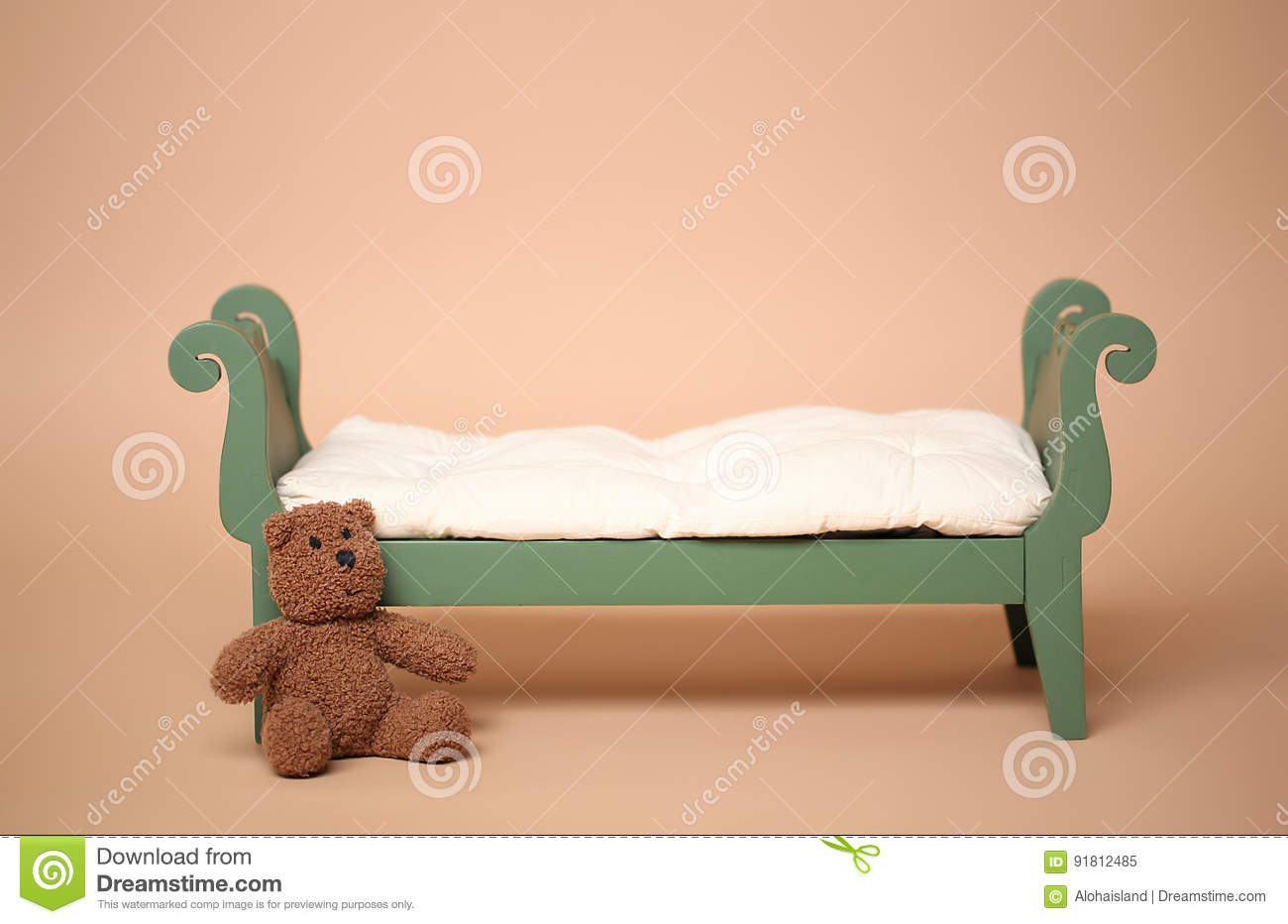 Digital background of isolated vintage baby bed on tan backdrop for use with newborn baby or child photography